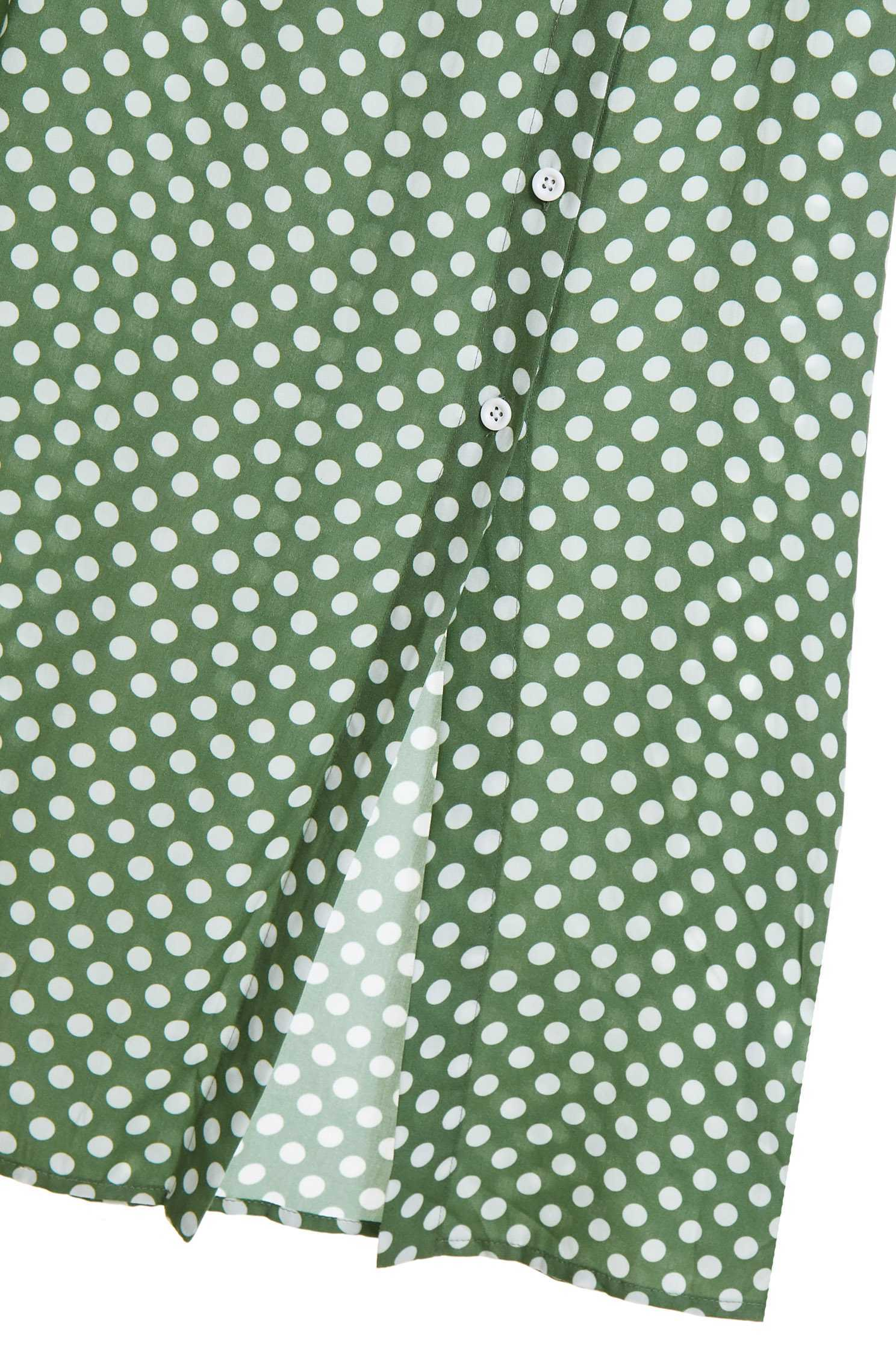 V-word puff sleeve dot set (skirt),top,onlinelimitededition,longskirt