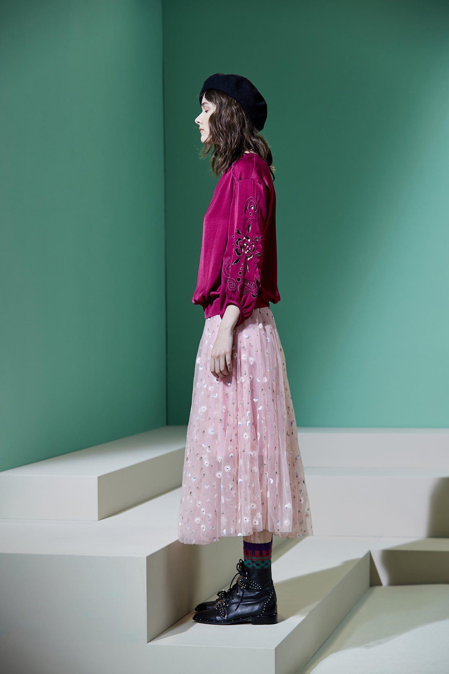 Embroidered breathable gauze long skirt,embroidery,tulleskirt,mesh,tulleskirt,i-select,embroidered,longskirt