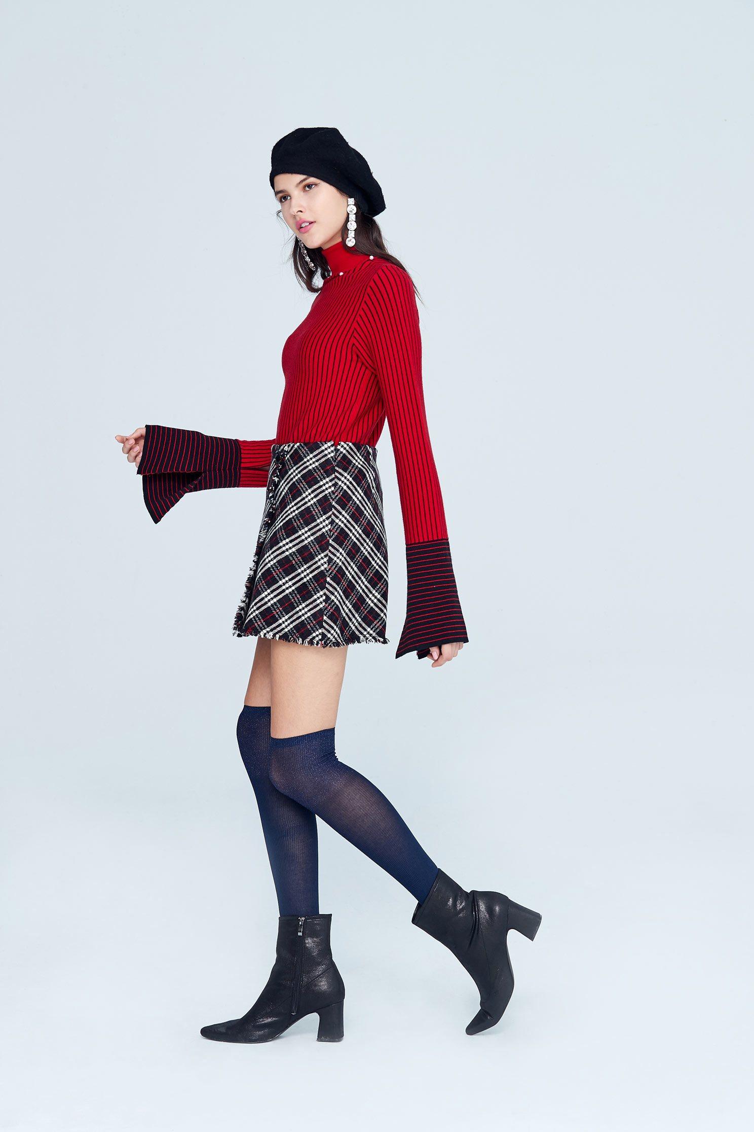 Vintage plaid classic design shorts,Mini Skirt