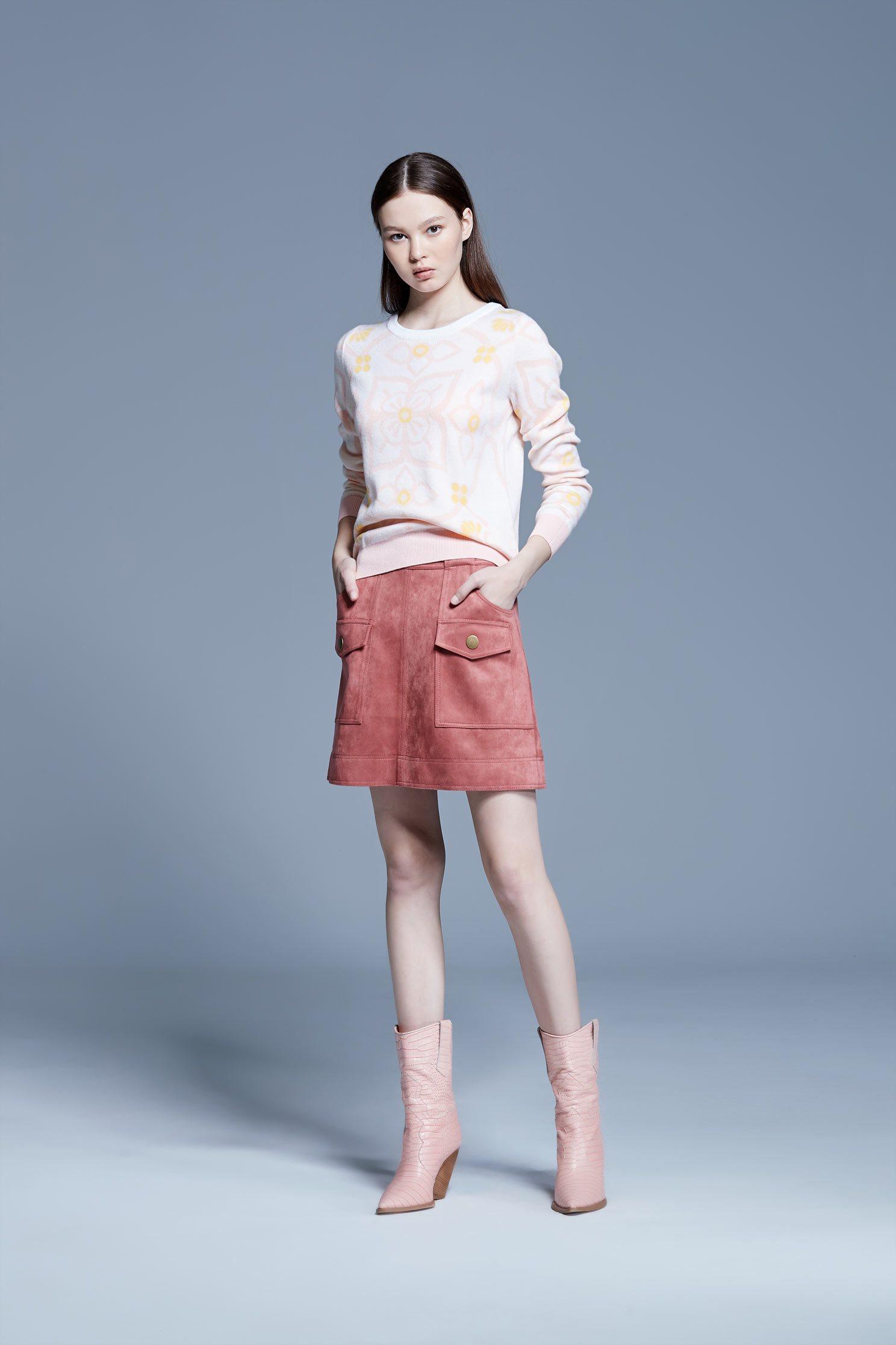 Smoky pink suede A-line skirt,A-line skirt,Mini Skirt
