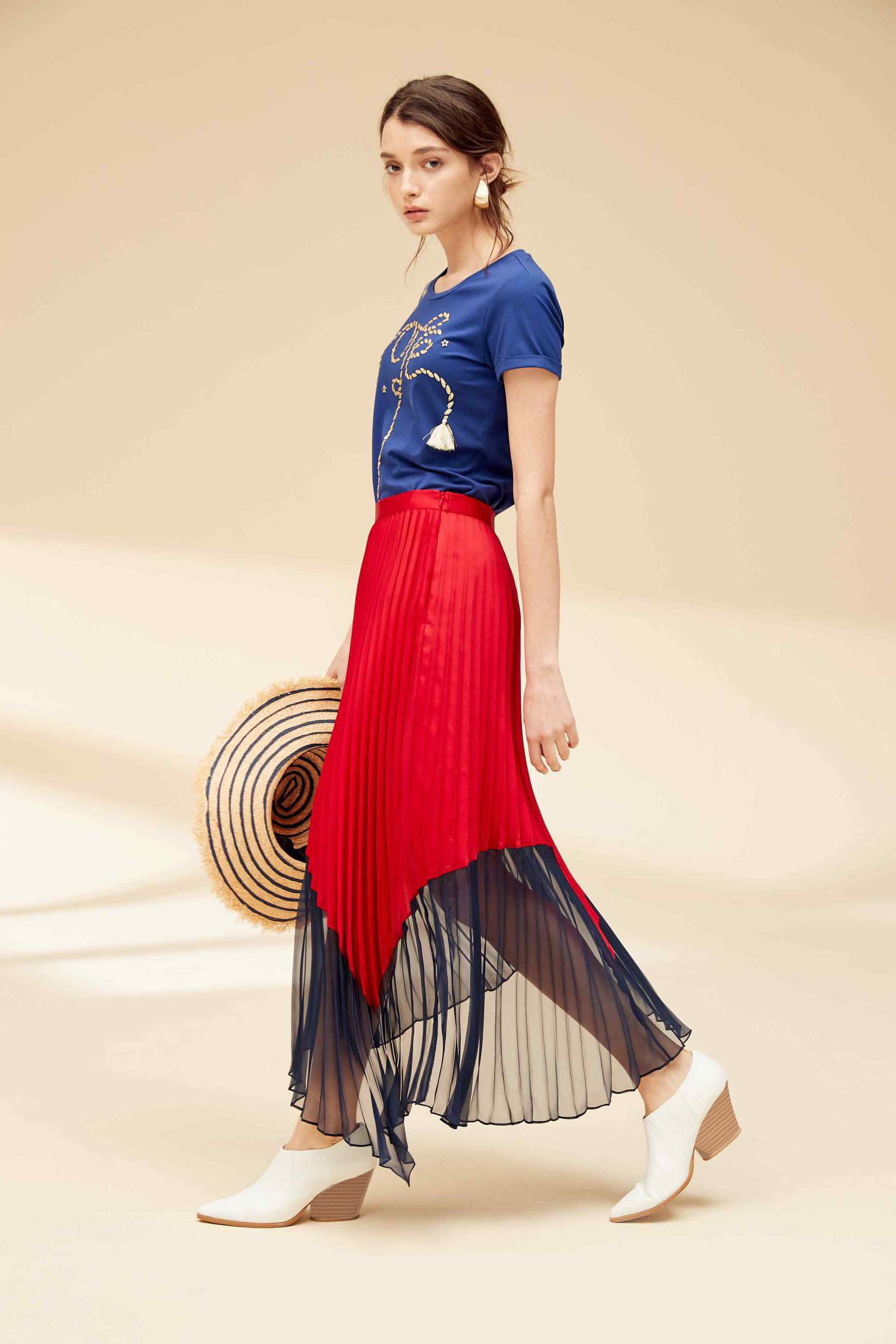 Colorblock fashion dress,Water Signs,百折,Pleated Skirt,Maxi Pleated Skirt,Long Skirt,Chiffon,Chiffon Skirt,Chiffon Long skirts