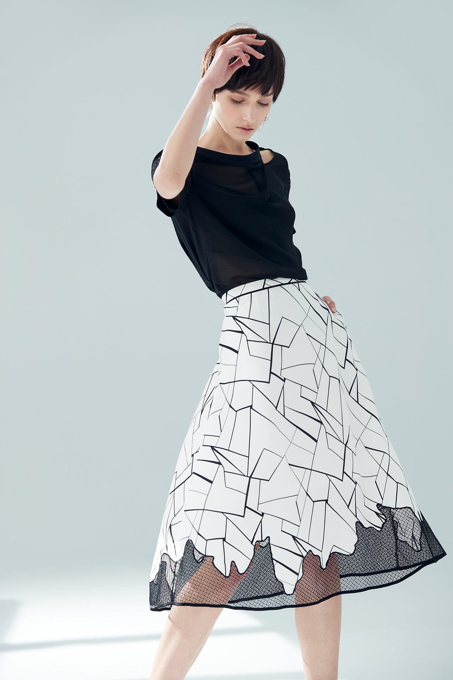 Micro-transparent stitching classic design long skirt,pleatedskirt,longskirt