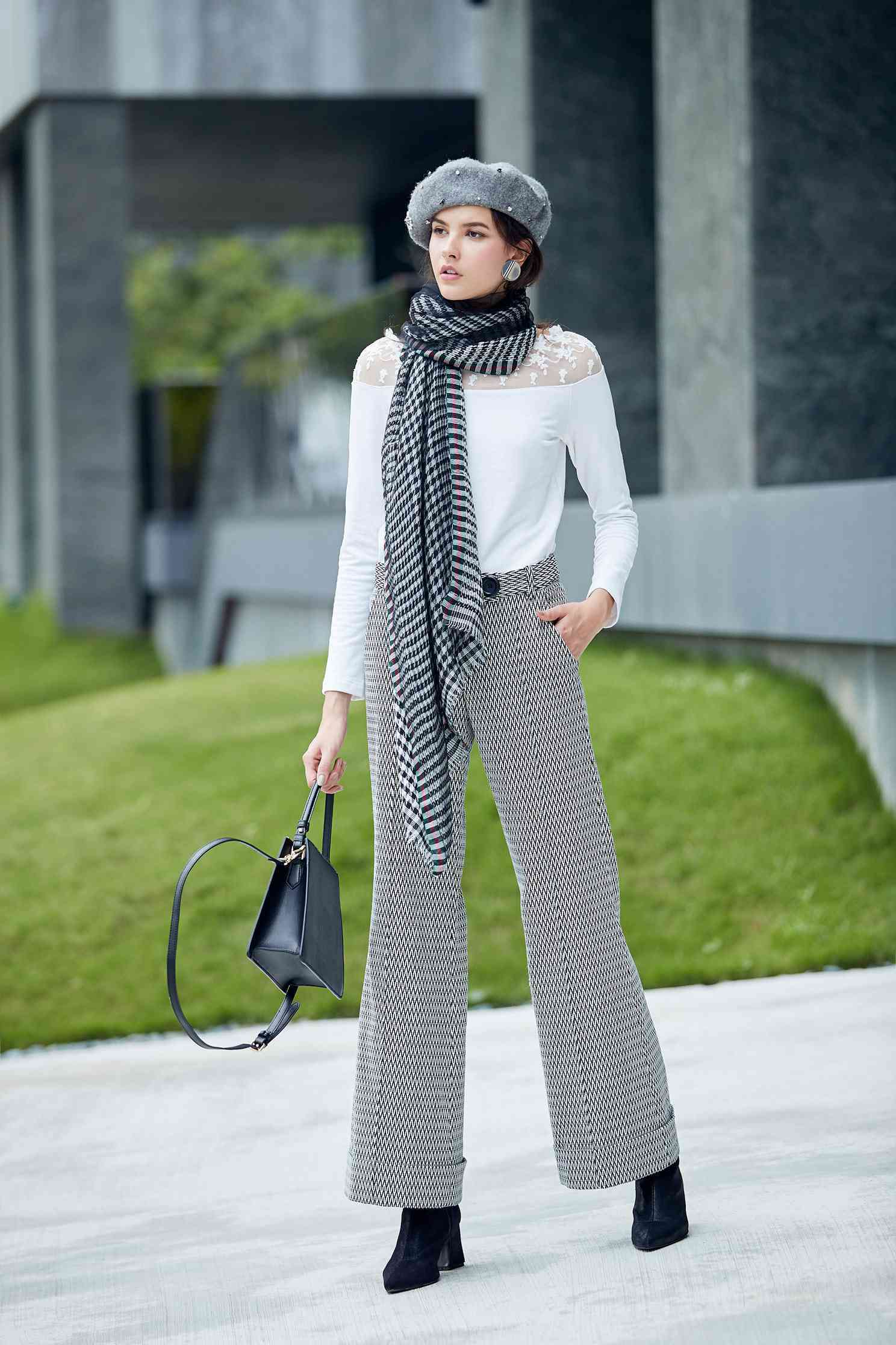 Houndstooth trousers,pants,pants,thinpants