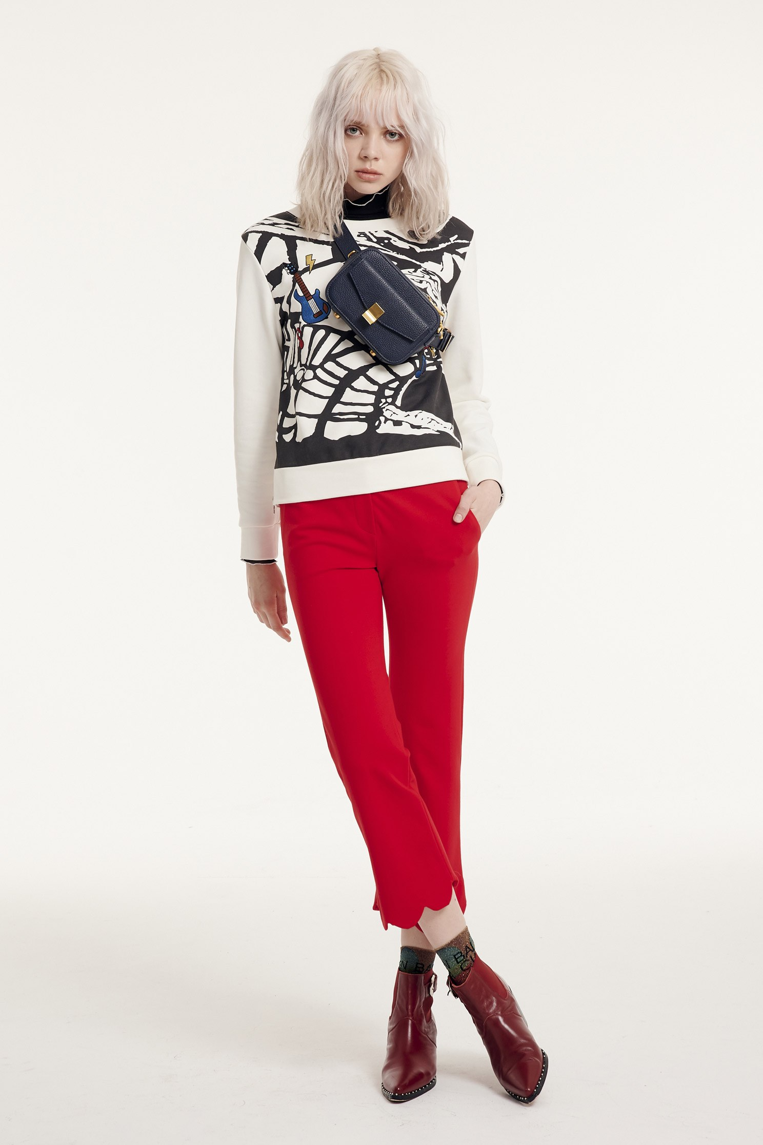Flared pants,Bell Bottom Jeans,New Year RED,Pants,長褲,Thin pants