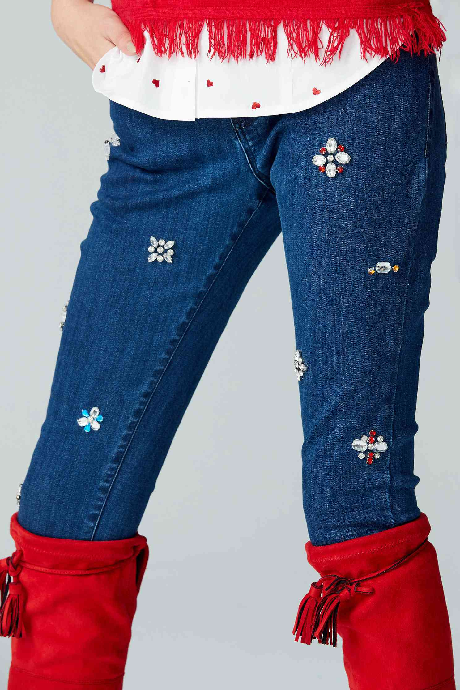 embellish with rhinestone denim trousers