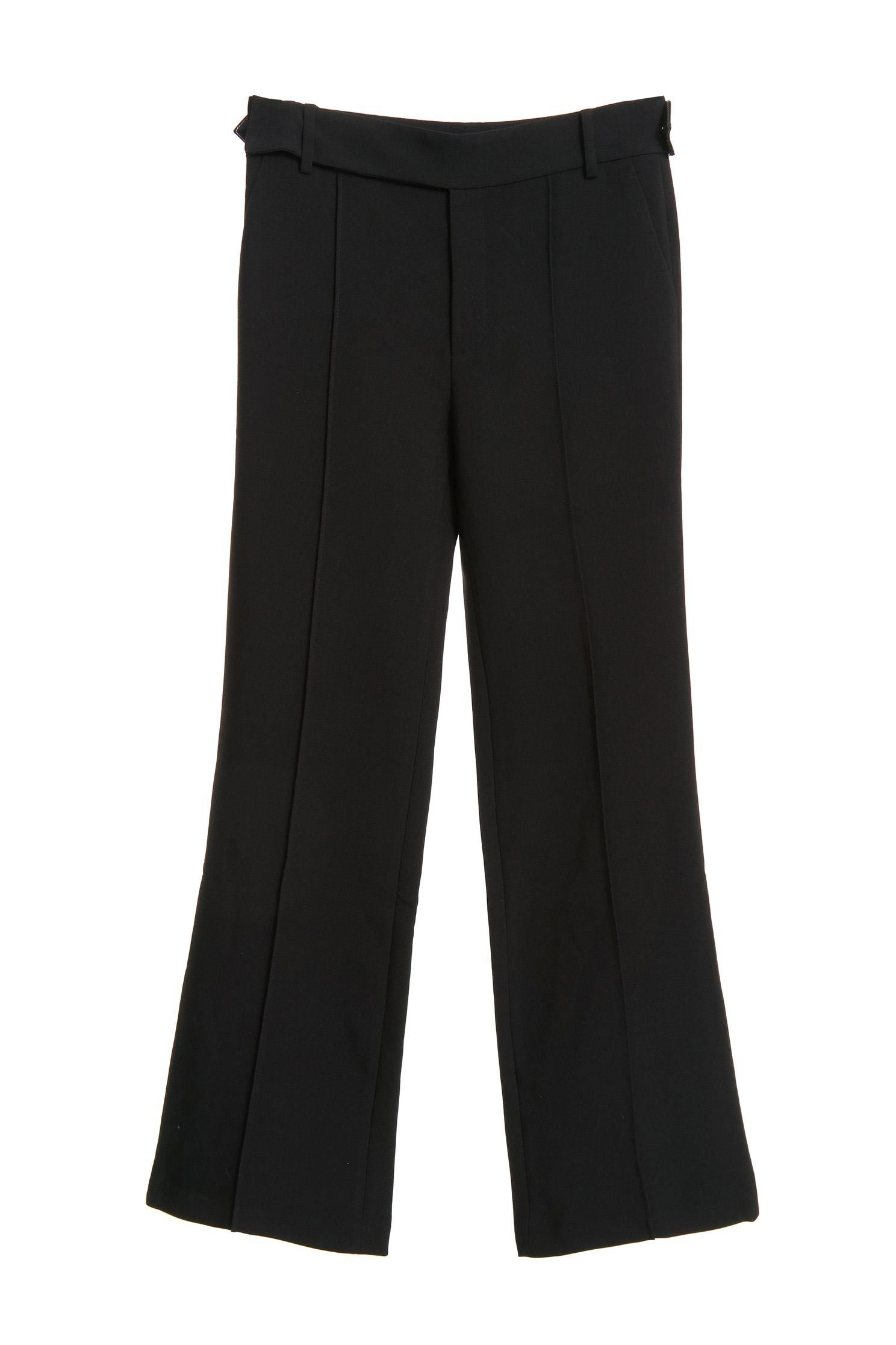 Leather strap trim trousers,Bell Bottom Jeans,皮革,i-select,Pants,長褲,Thin pants,Black trousers