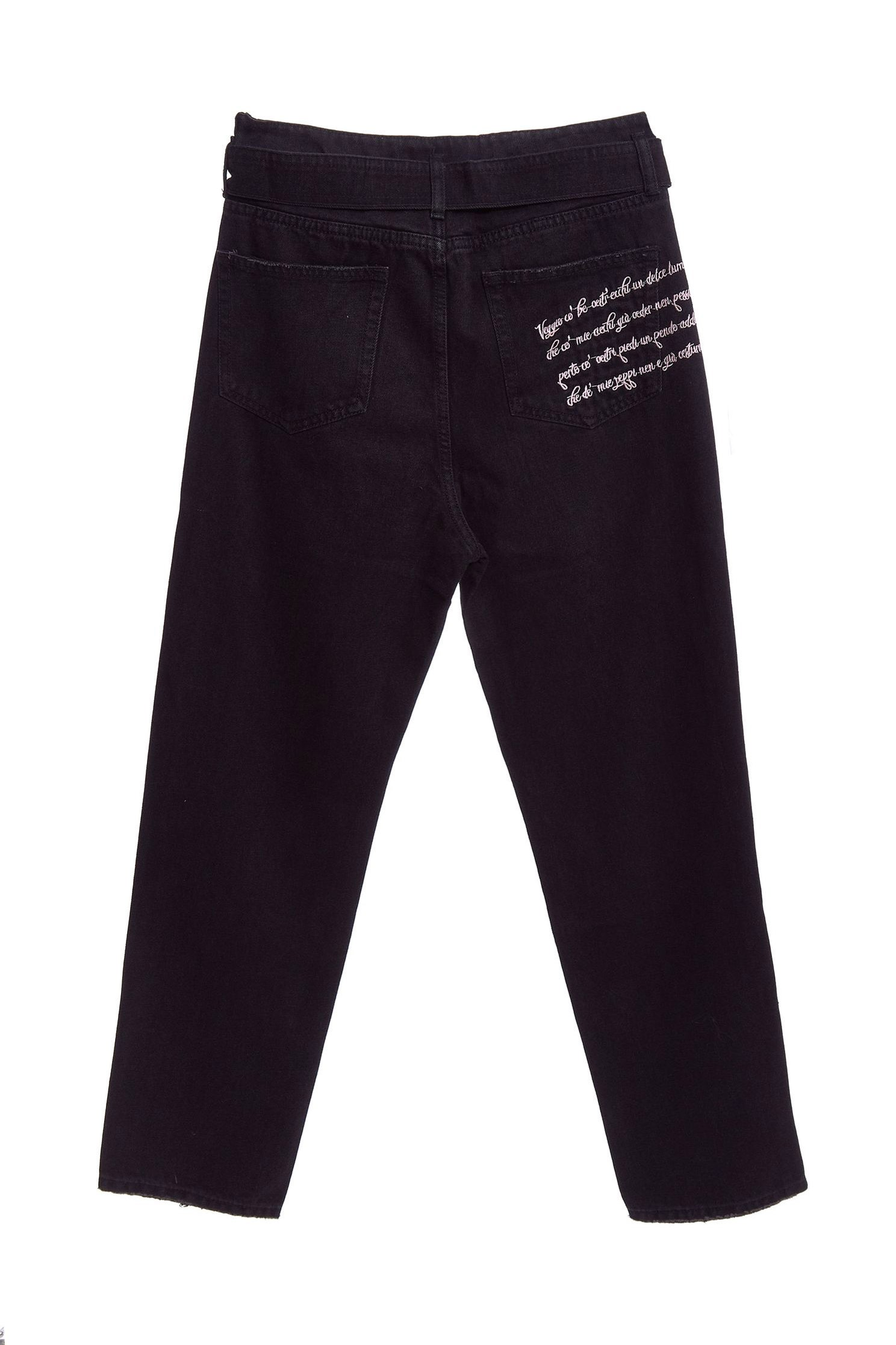Back pocket embroidered with strap denim trousers,Tanning,embroidery,cowboy,Jeans,Women's denim trousers,embroidered,長褲,Black jeans,Black trousers