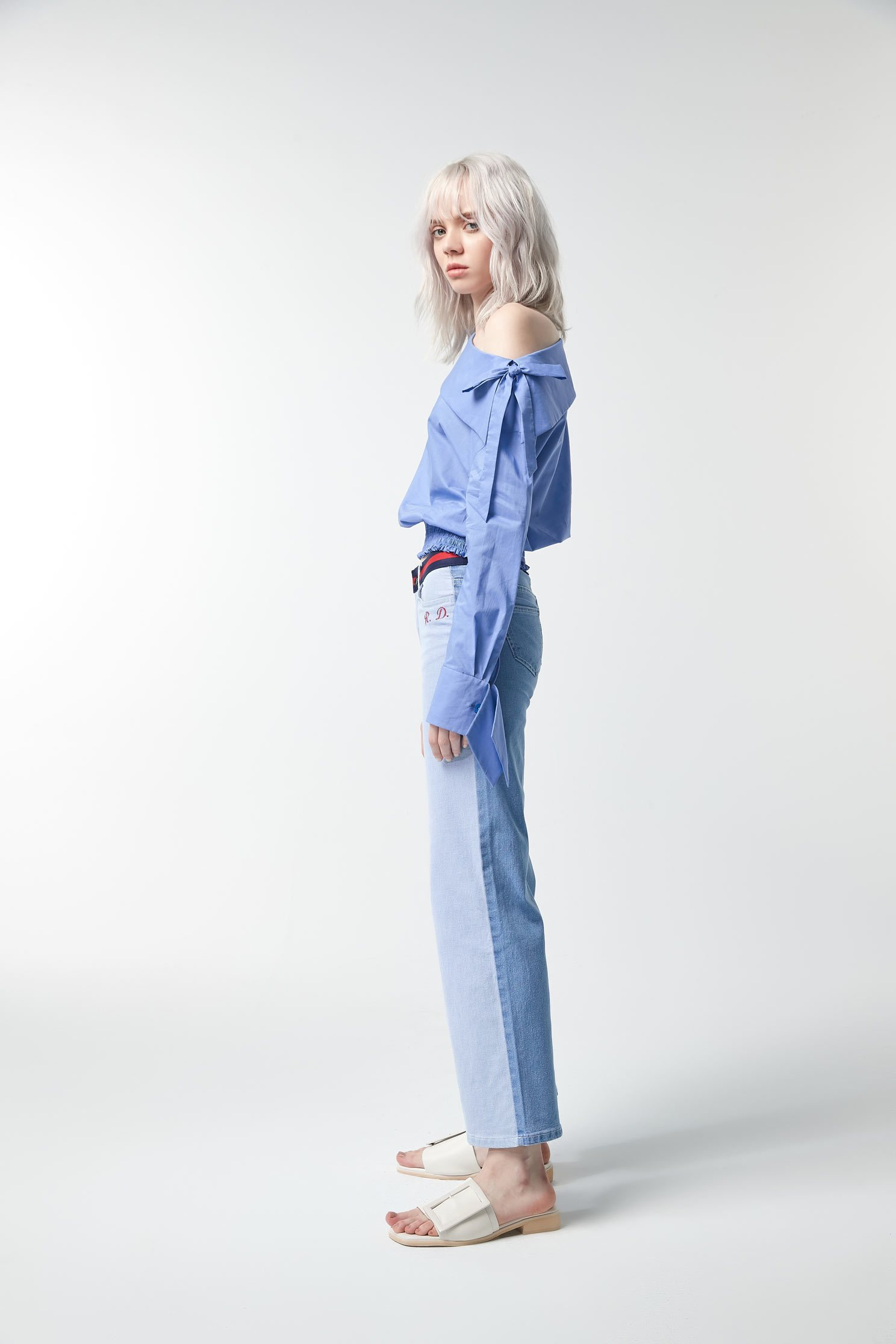 Two-color denim wide pants,tanning,embroidery,culottespants,cowboy,jeans,embroidered,pants