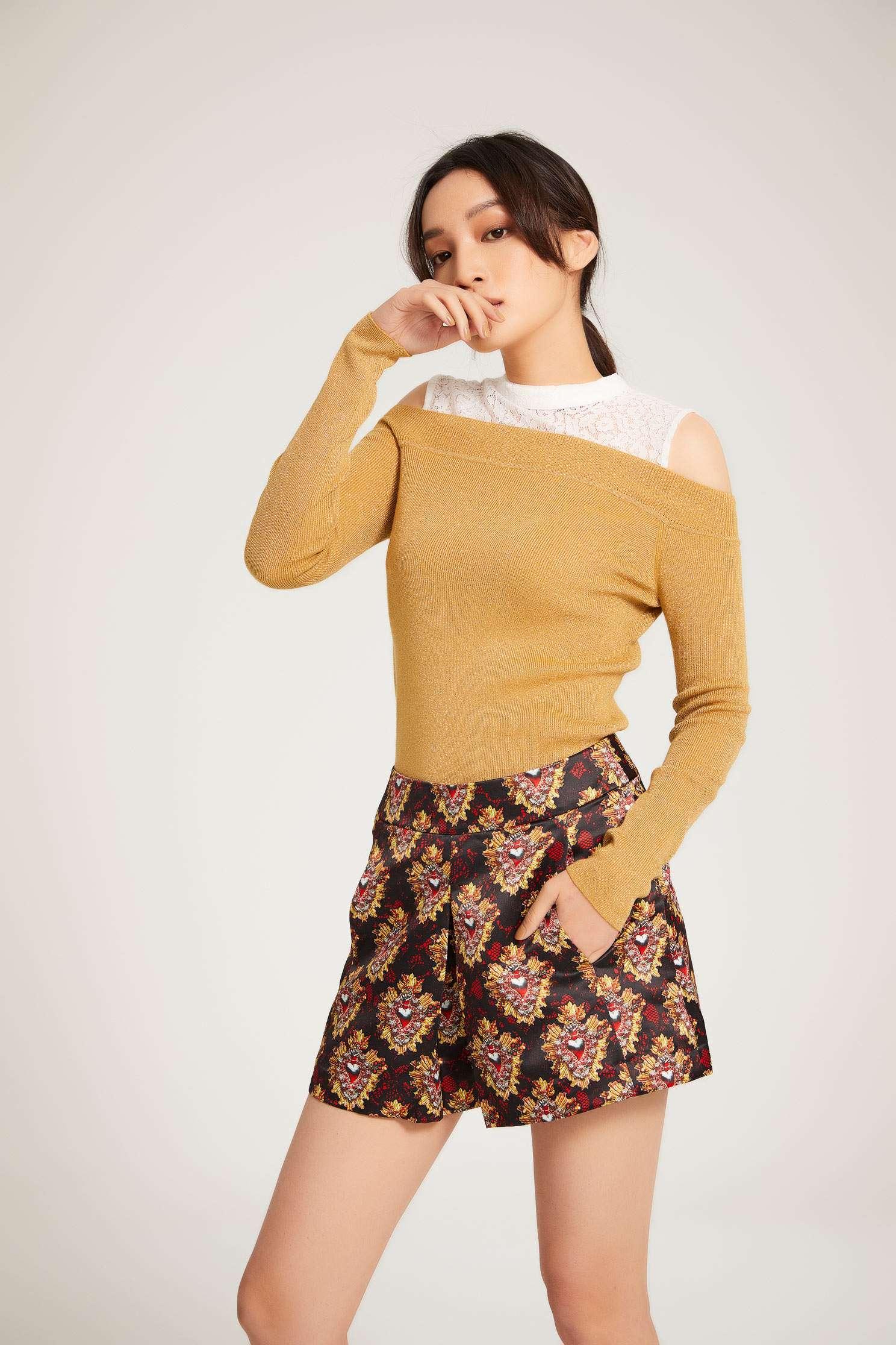 Geometric print shorts,Shorts,Fantasy purple,Culottes