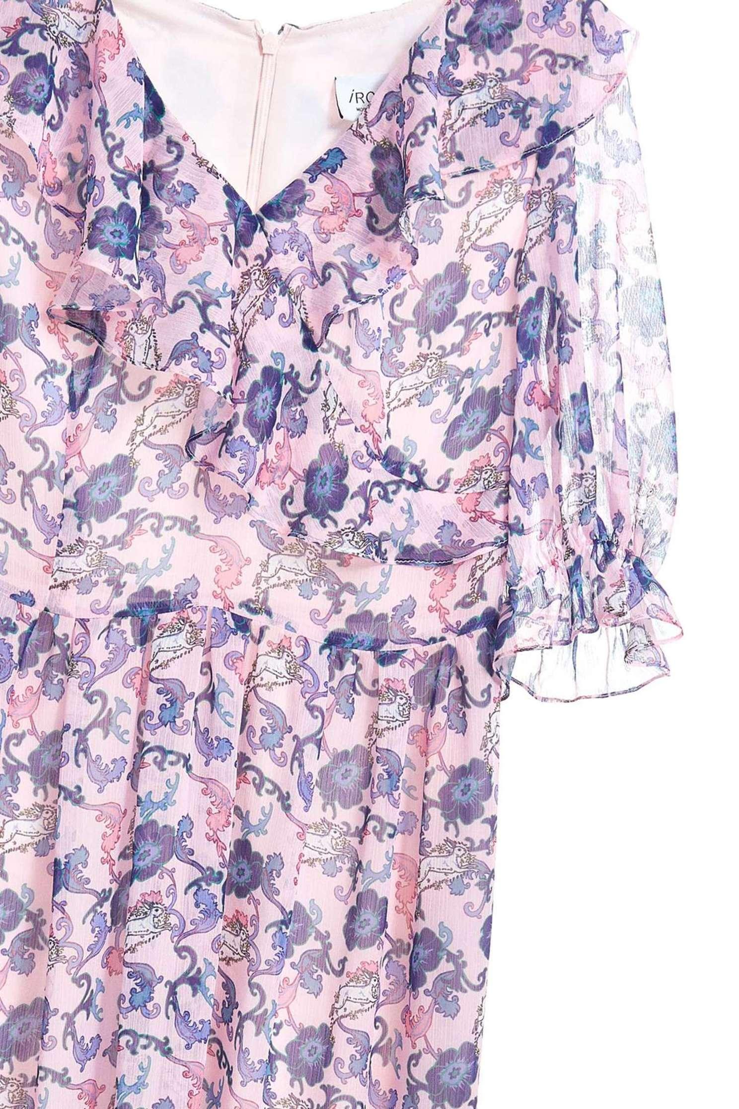 Romantic flower V-neck woman fashion dress,v-neckdress,printeddress,cocktaildress,shortsleevedress,chiffon,chiffondress
