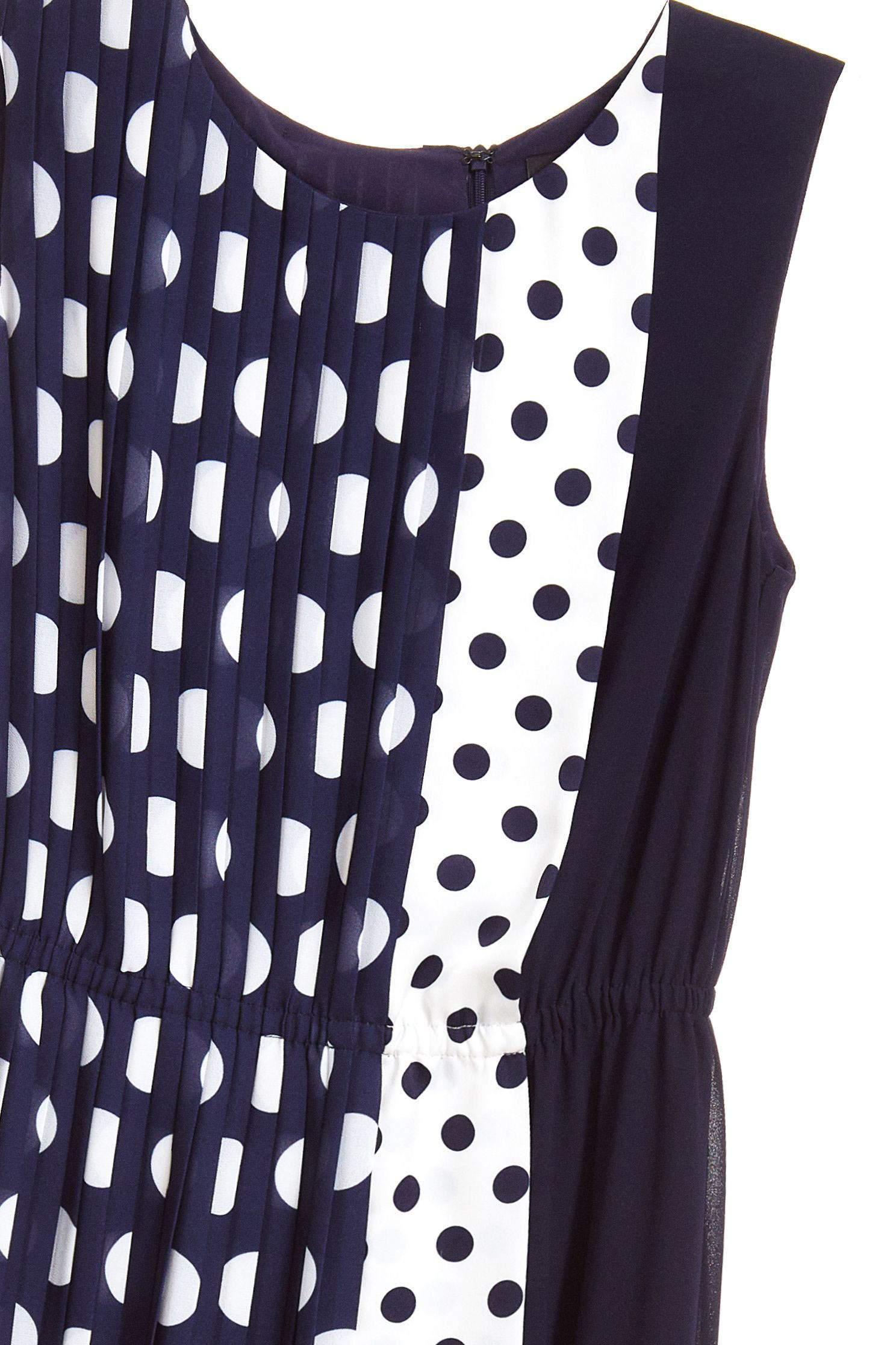 Stitching dot classic design dress,u-neckdress,dress,sleevelessdress