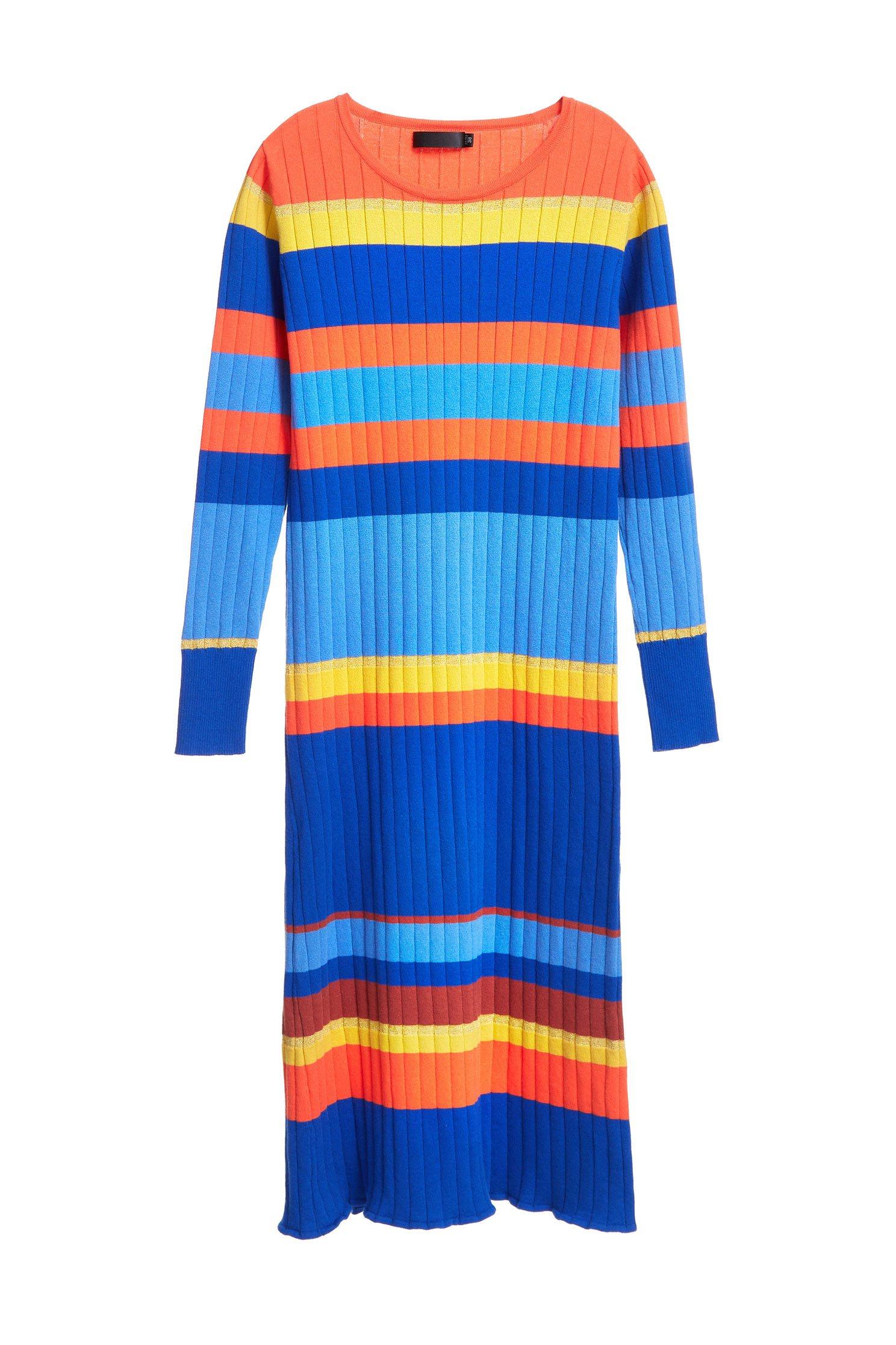 Ribbed Stripe Knit  Dress,cocktaildress,knitting,knitteddress,longsleevedress