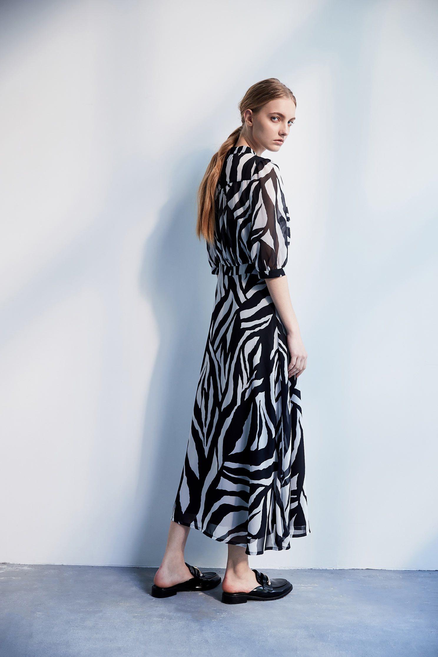 Zebra stripe classic fashion dress,dress,cocktaildress,perspectivedress,chiffon,chiffondress