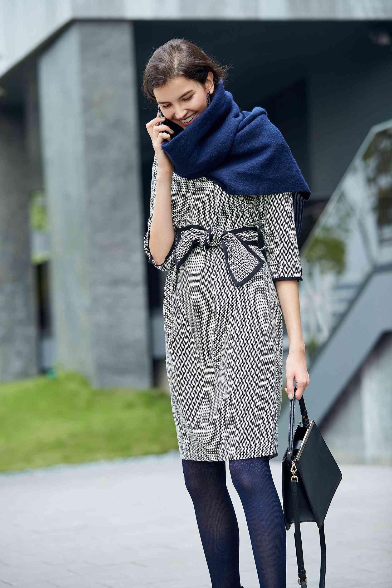 Houndstooth dress,V-neck dress,長袖洋裝
