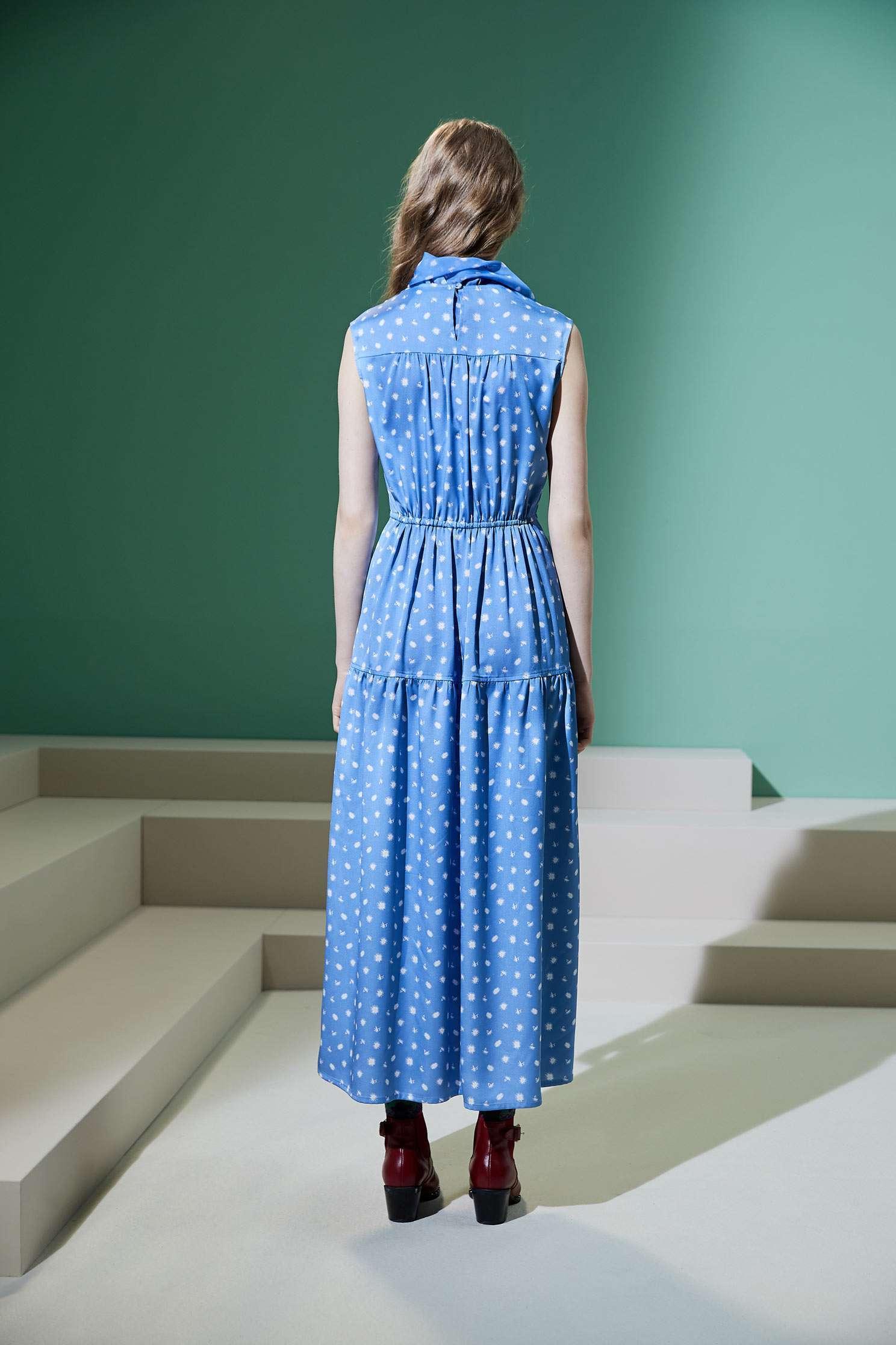 Flowy fashion dres,Pantone blue,Cocktail Dress,無袖洋裝