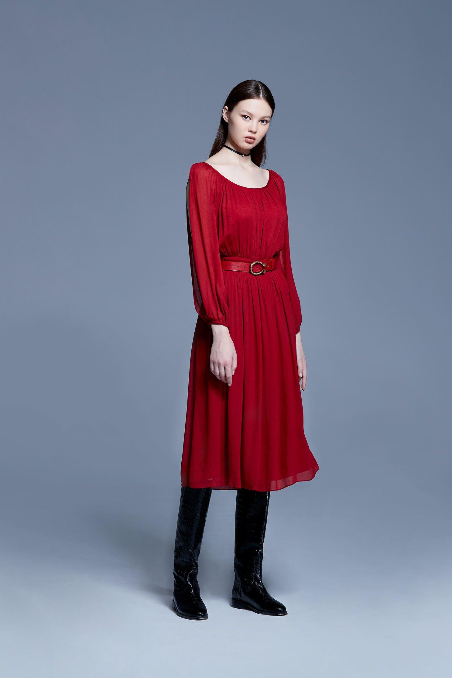 Velvet-like chiffon dress,U-neck dress,Dress,Cocktail Dress,透膚洋裝,長袖洋裝,Chiffon,Chiffon Dress