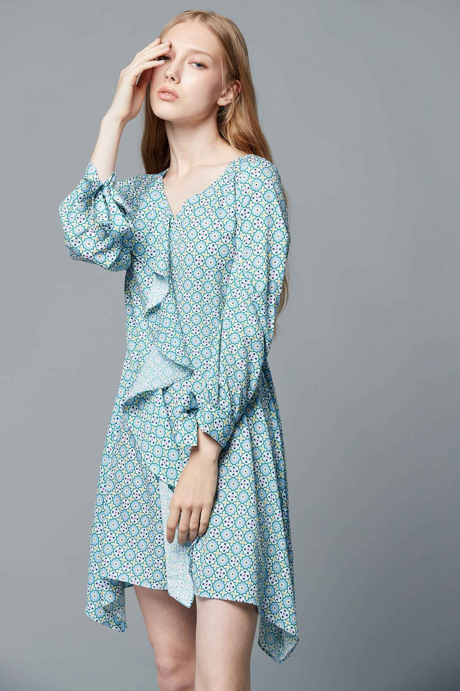 Vintage dot dress,v-neckdress,printeddress,longsleevedress