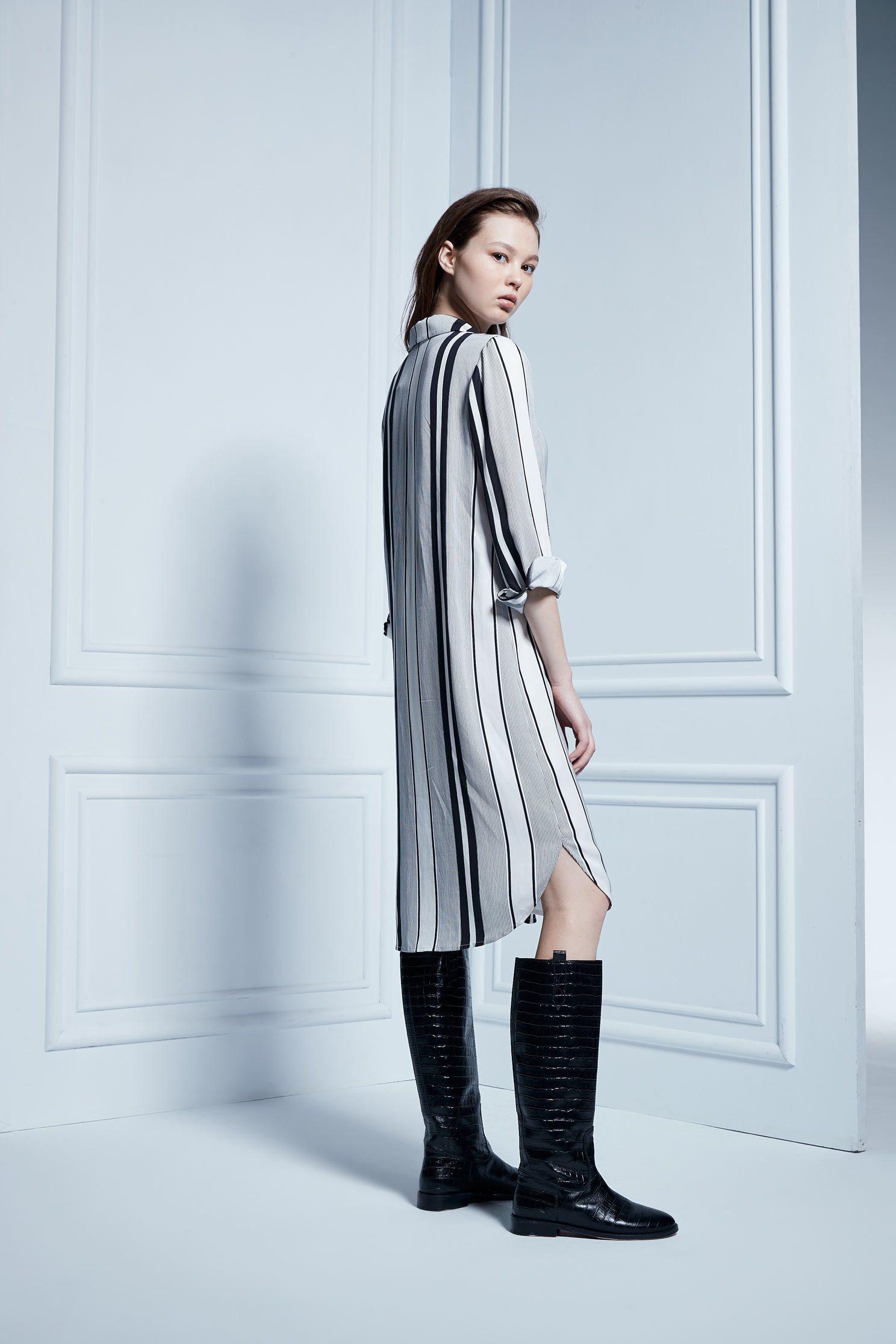 STRIPED SHIRT DRESS,Dress,Cocktail Dress,Blouse,長袖洋裝
