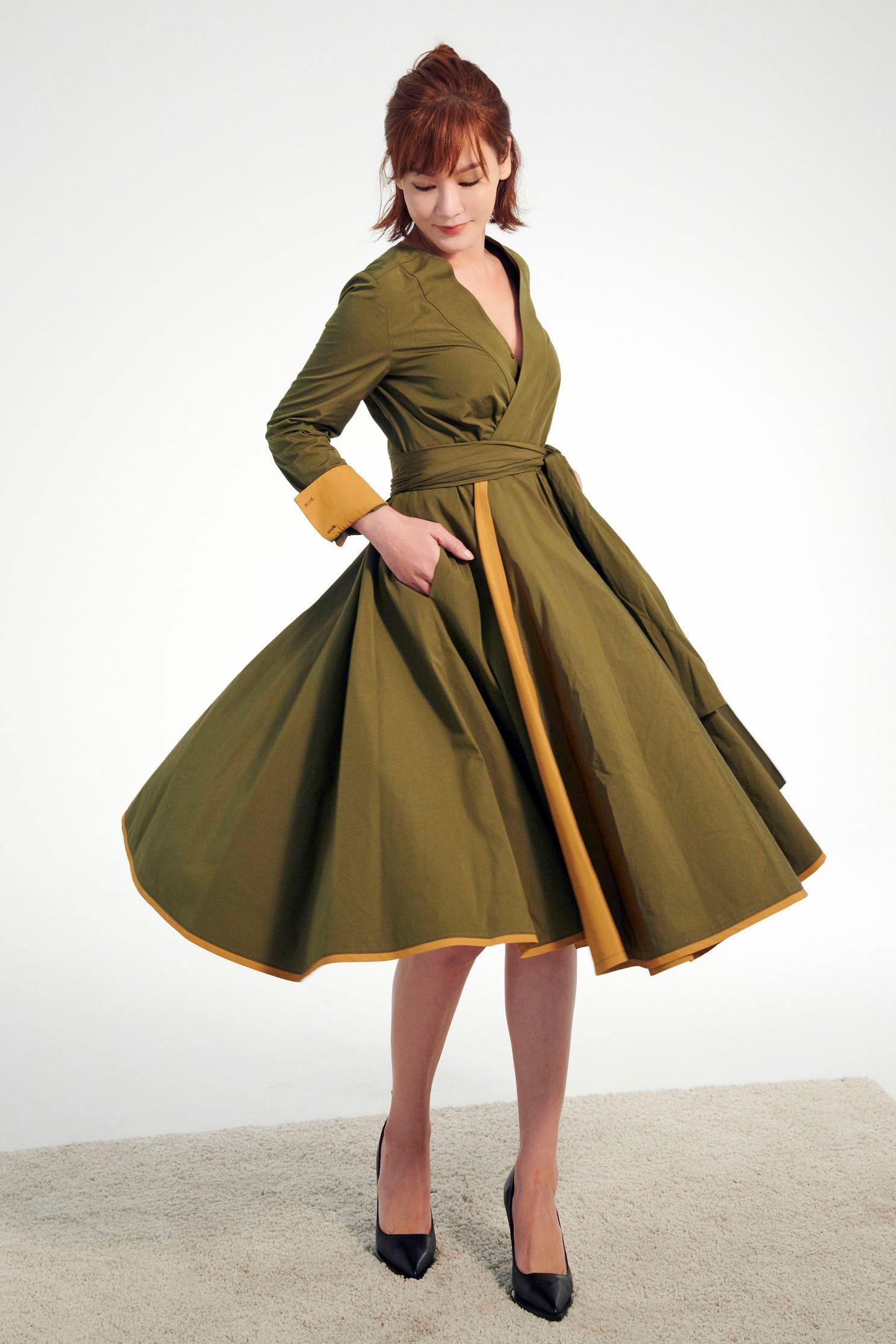 配色綁帶洋裝,v-neckdress,dress,valentine,longsleevedress