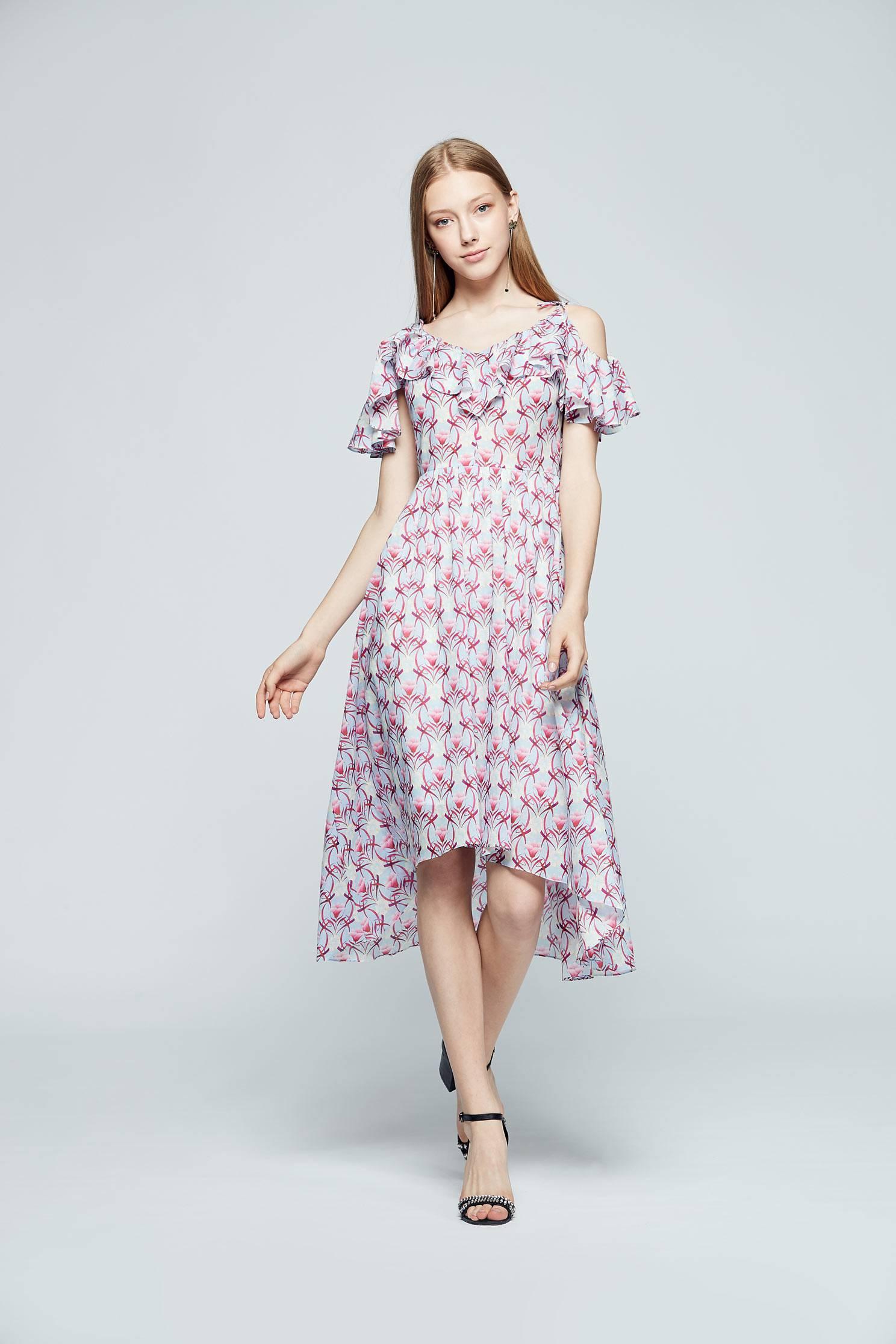 Elegant floral fashion dress,dress,printeddress,cocktaildress,sleevelessdress,spaghettistrap,spaghettistrapdress,chiffon,chiffondress