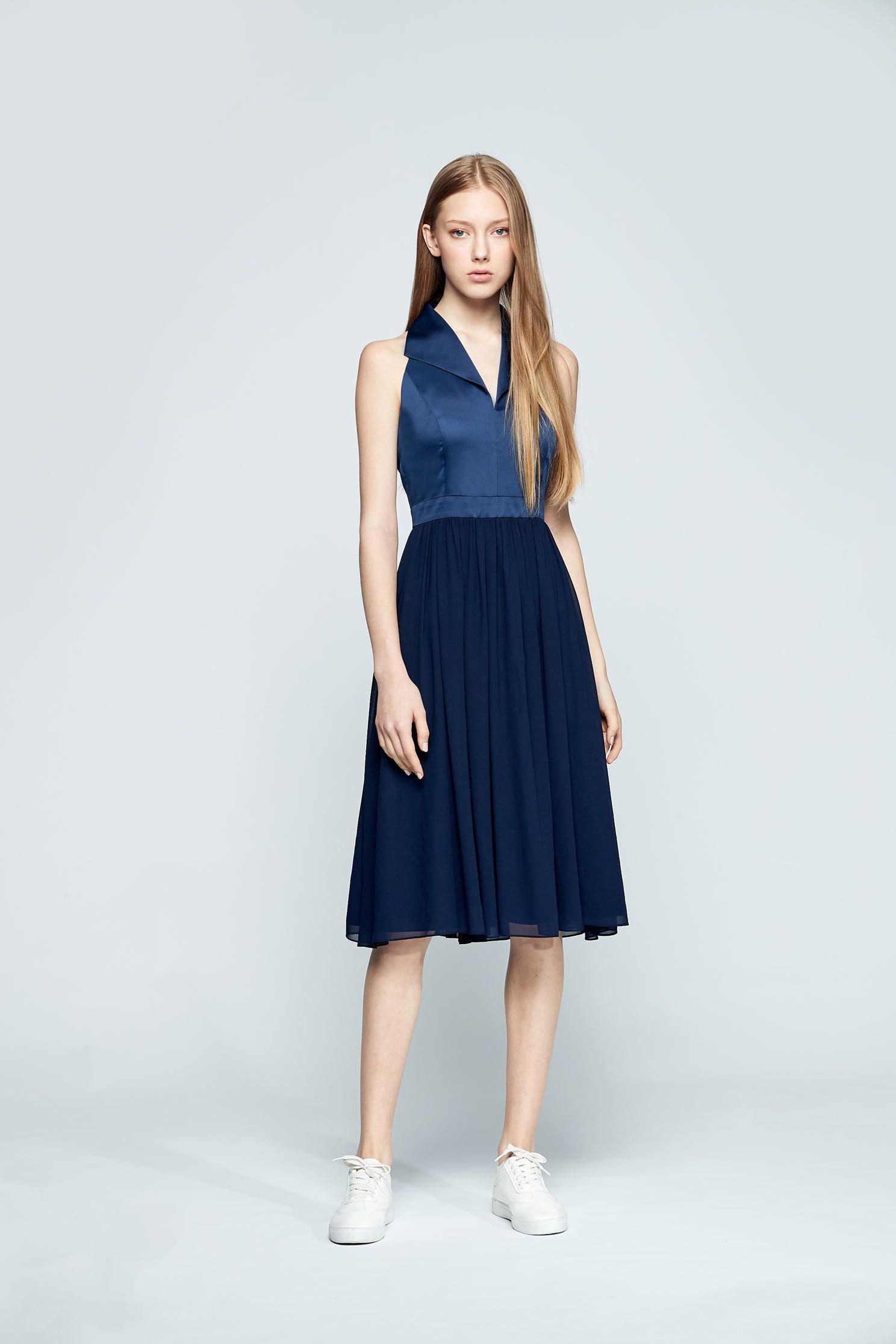 Elegant lapel design sleeveless dress,v-neckdress,cocktaildress,sleevelessdress,chiffon,chiffondress