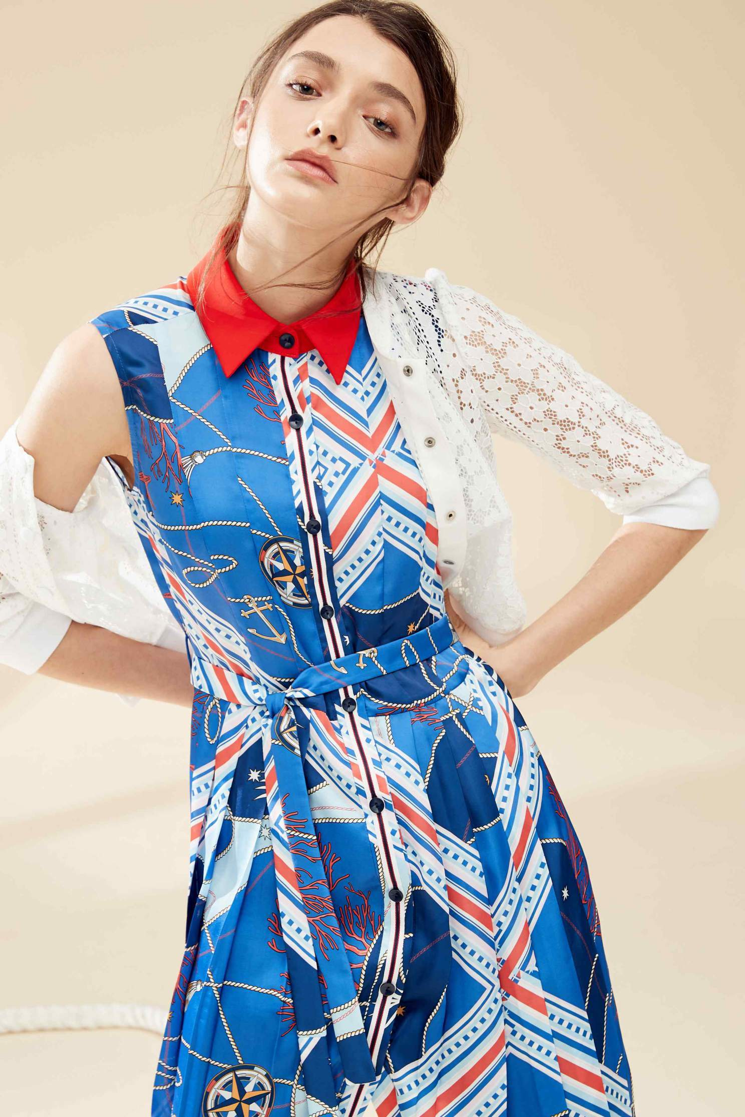 Ocean sytle fashion dress,casualdress,printeddress,firesigns,sleevelessdress