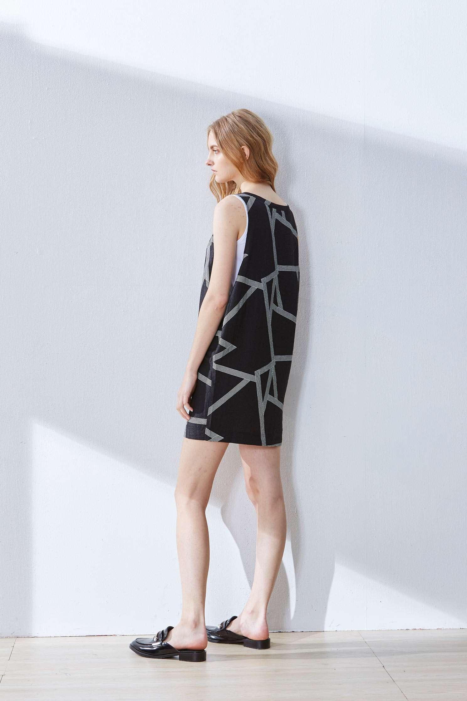 Geometric dress,u-neckdress,casualdress,cocktaildress,sleevelessdress
