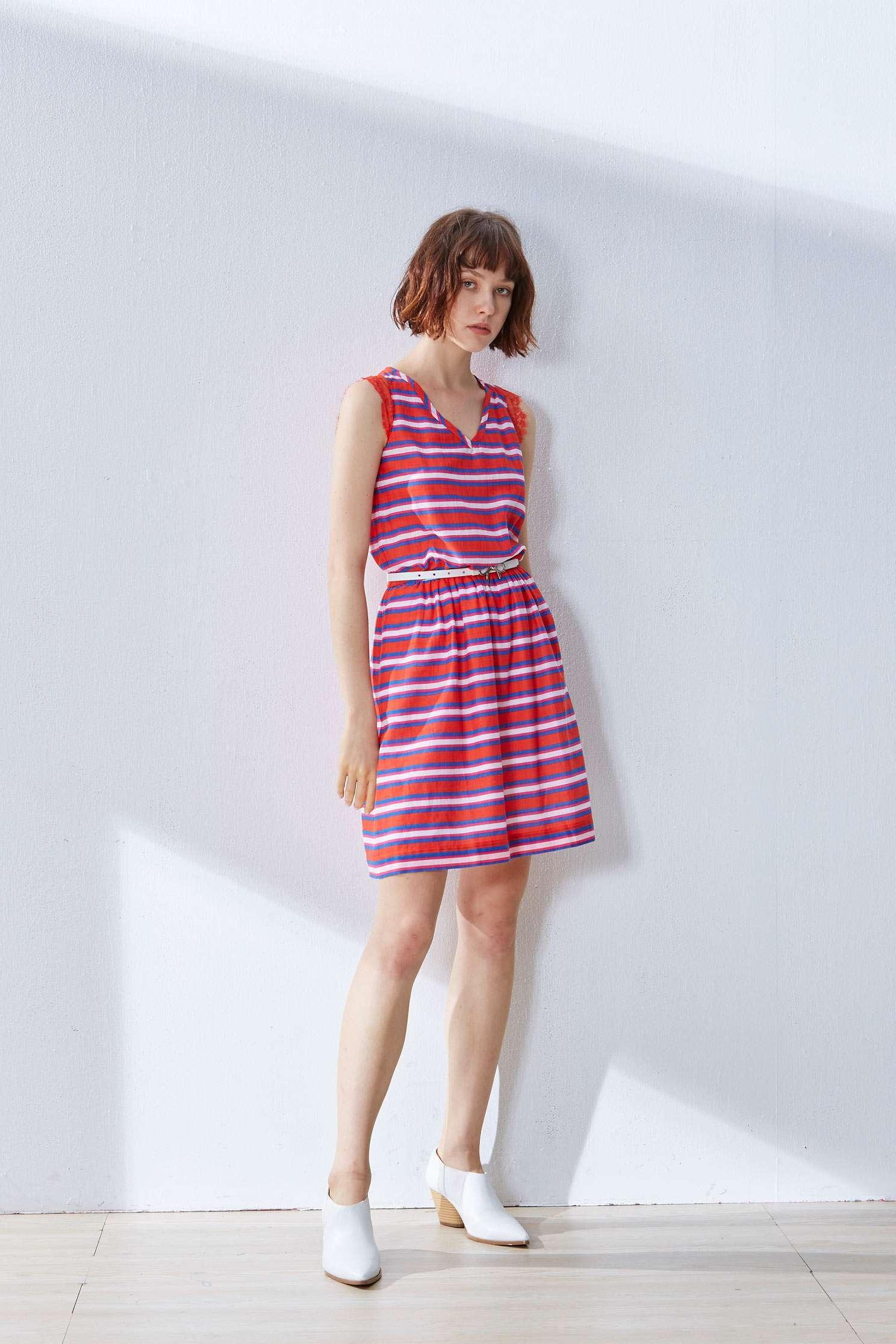 Striped color matching dress,casualdress,sleevelessdress