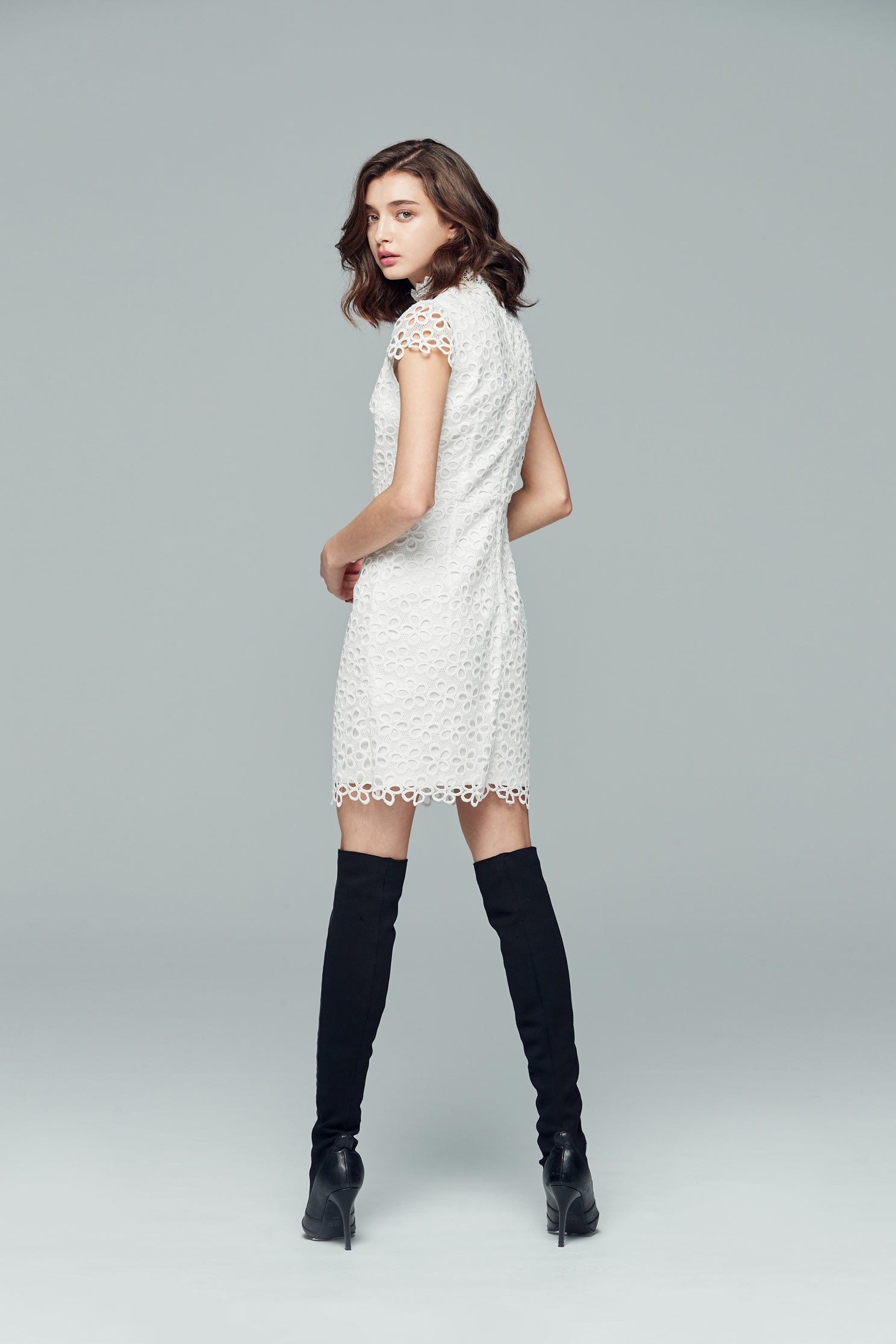 Graceful hollowed stylish dress,cocktaildress,sleevelessdress,whitedress,shortsleevedress,lace,lacedress