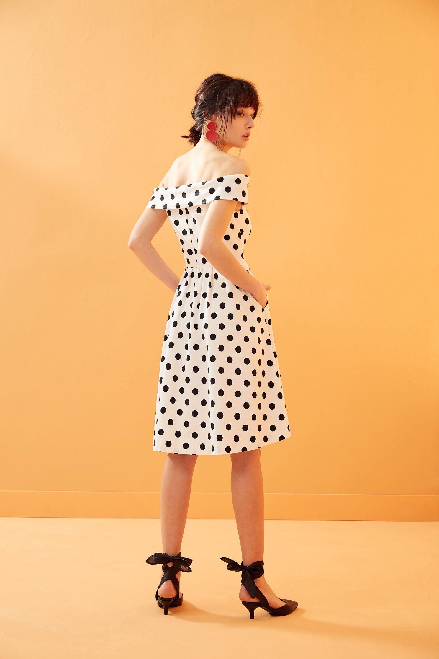 Vintage polka dot dress,boatneckdress