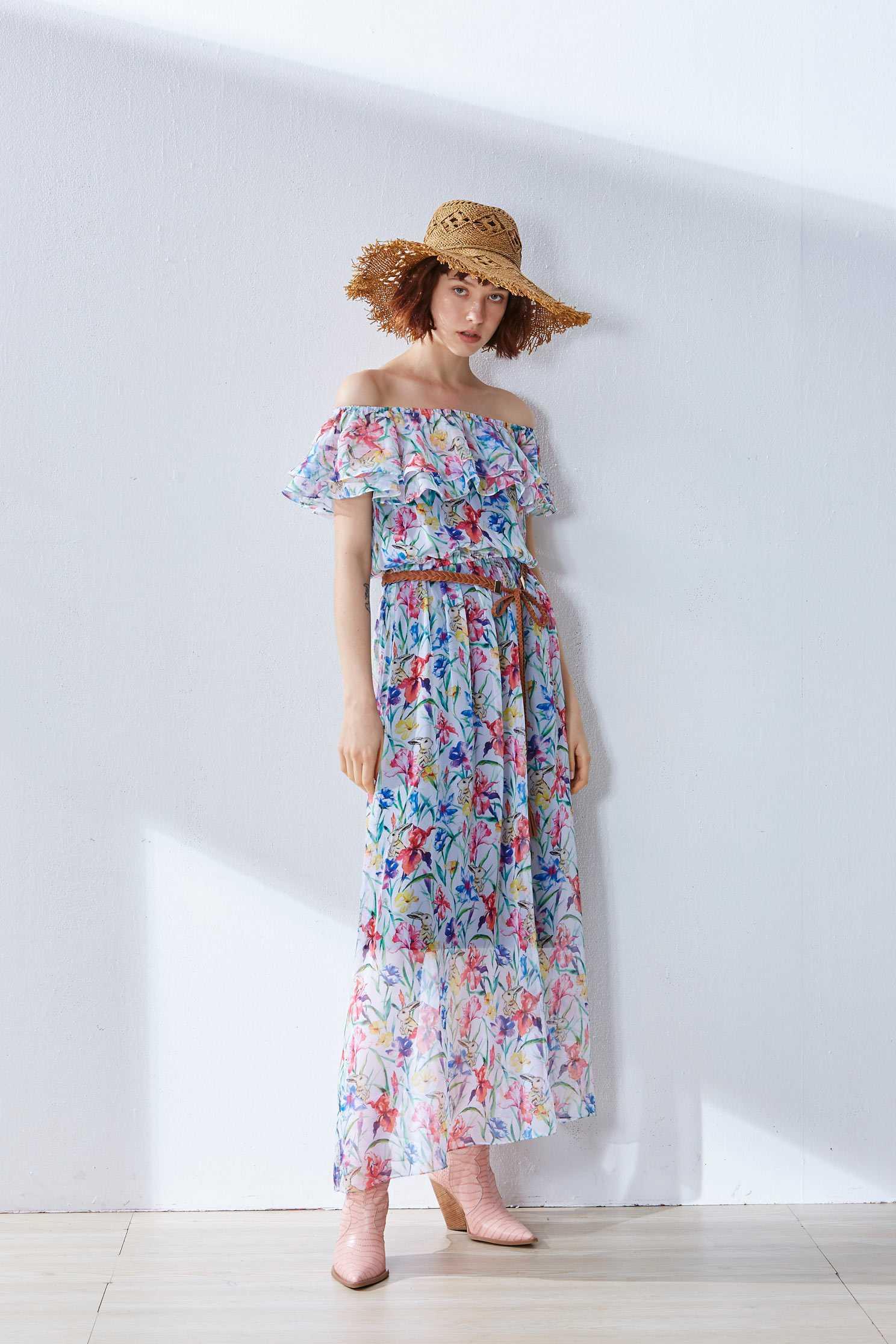Translucent floral design dress,boatneckdress,printeddress,cocktaildress,shortsleevedress,chiffon,chiffondress