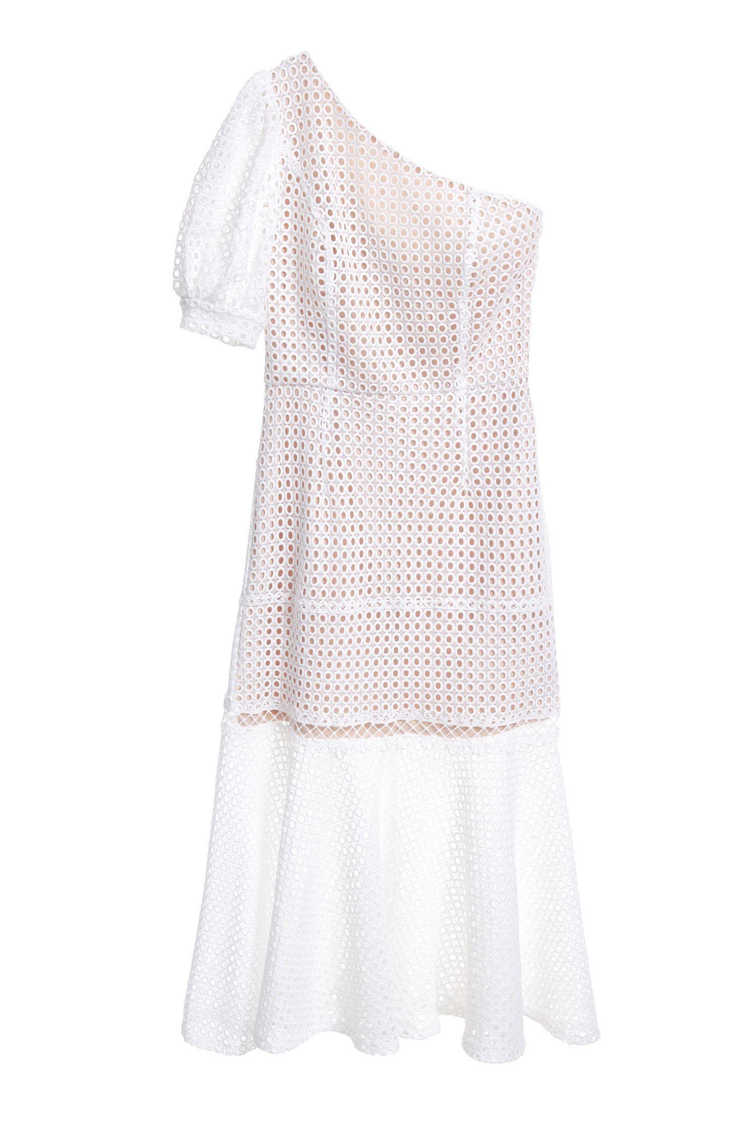 Net hole one-shoulder fishtail dress,dress,onlinelimitededition,longdress