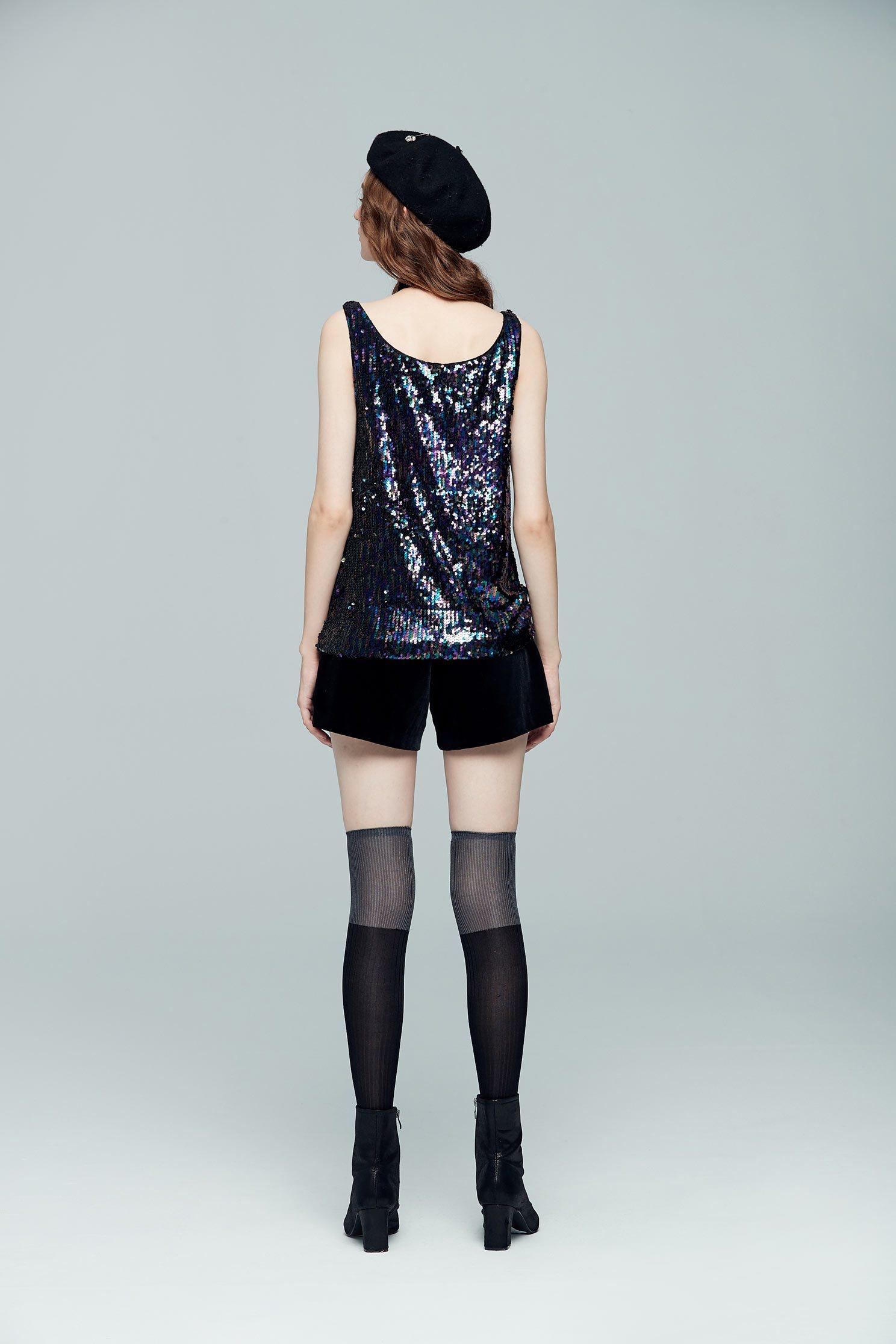 Chest-length sequined sleeveless vest,vest