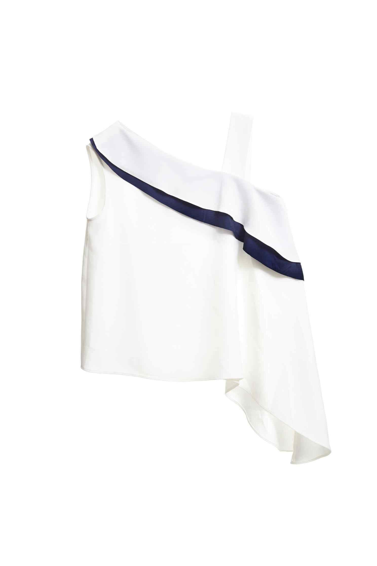 Irregular one shoulder vest,whitevest,vest