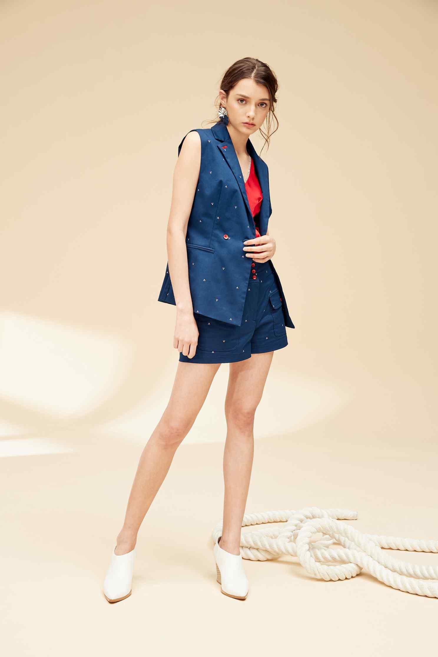 Lapel geometric fashion vest,vest