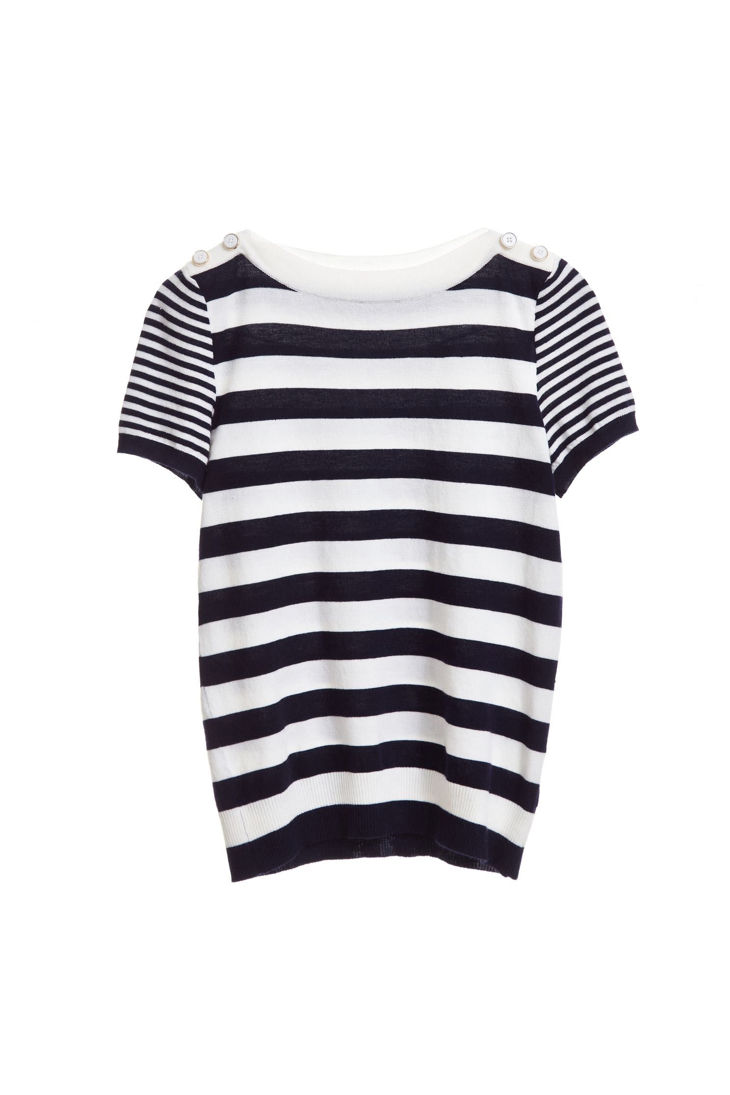 Striped stitching top,top,shortsleevetop