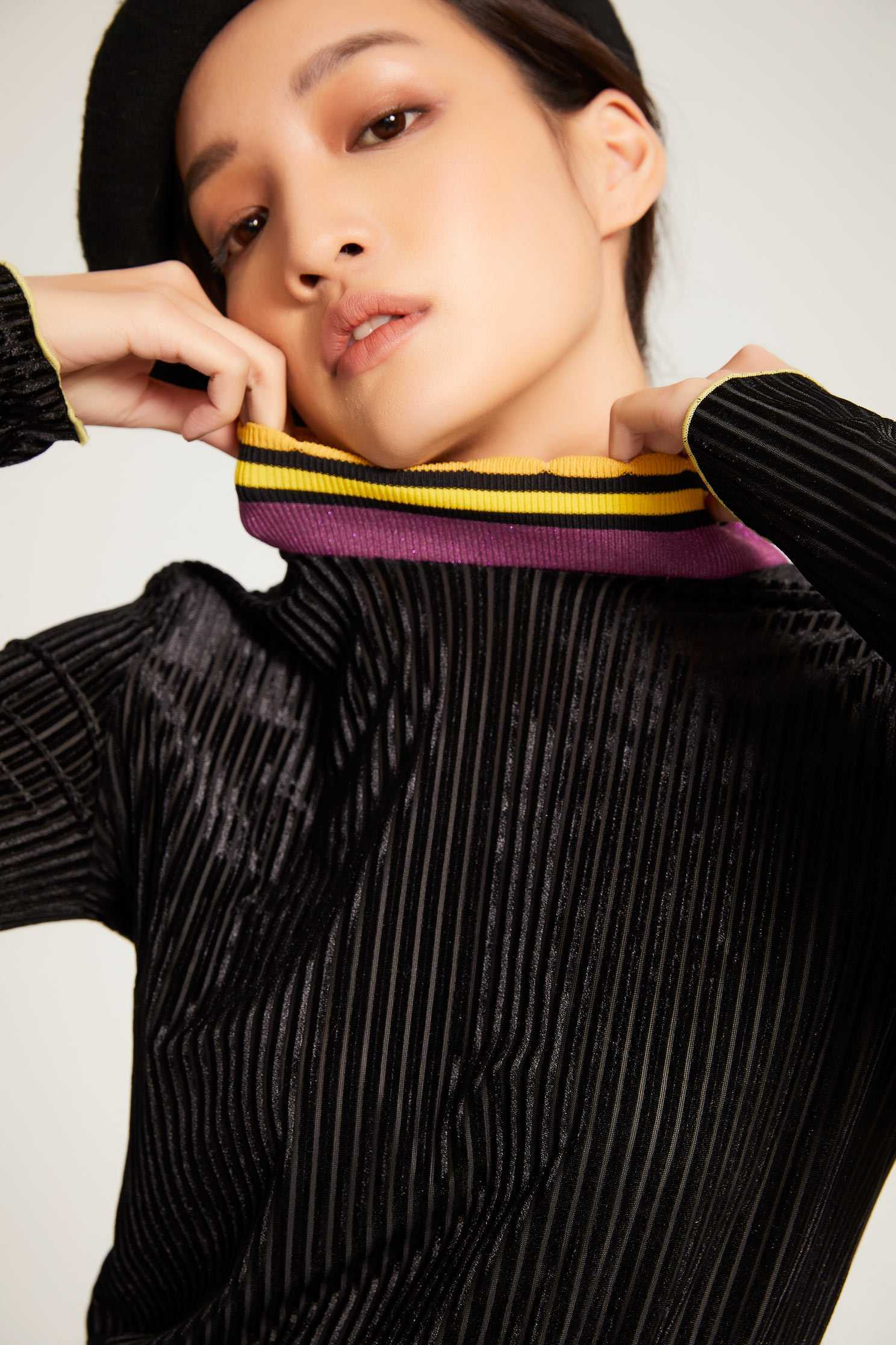 Hit high-necked sweater,Fantasy purple,knitting,Knitted top,Knitted Top,長袖上衣,Turtleneck top,黑色上衣