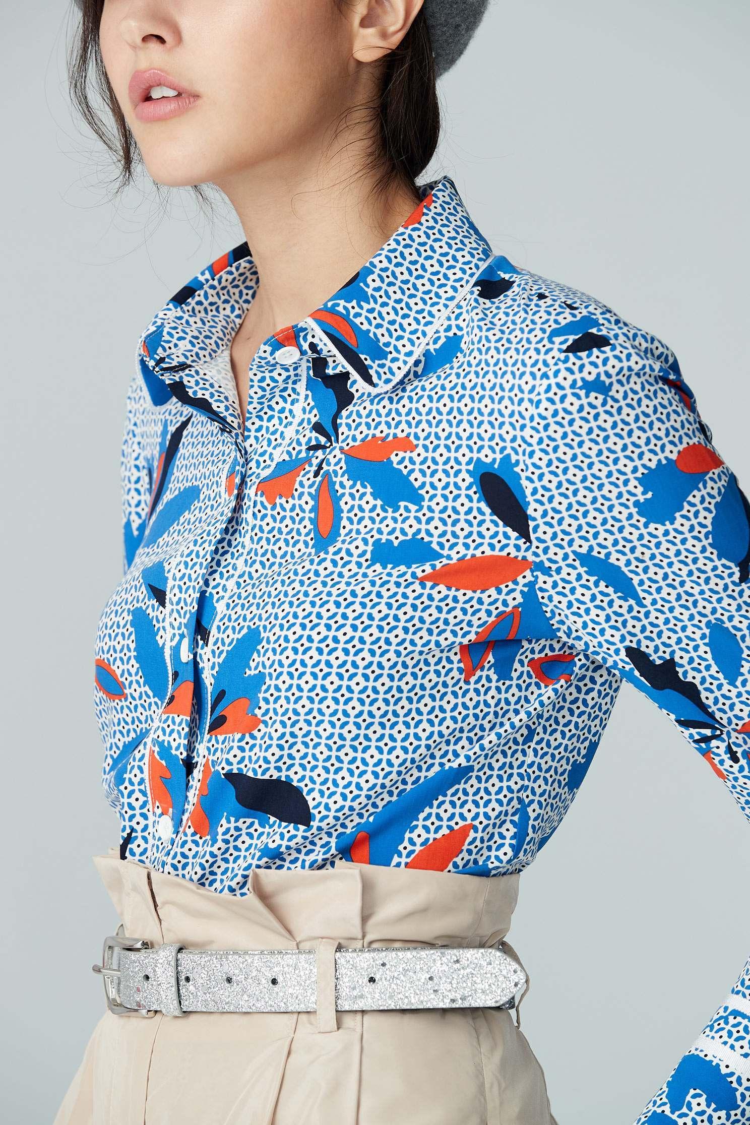 flower pattern chiffon blouse,Top,Rayon,Blouse,長袖上衣,Chiffon,Chiffon top
