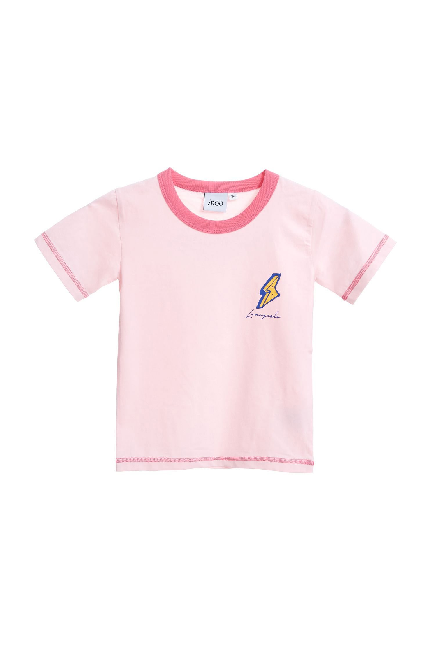 iRoo x LamiGirlsEmbroidery Pop Cotton Short Sleeve Tshirt-kids