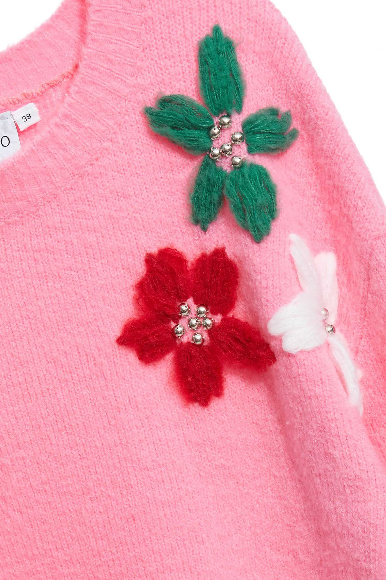flower pattern pink ladies sweater blouse