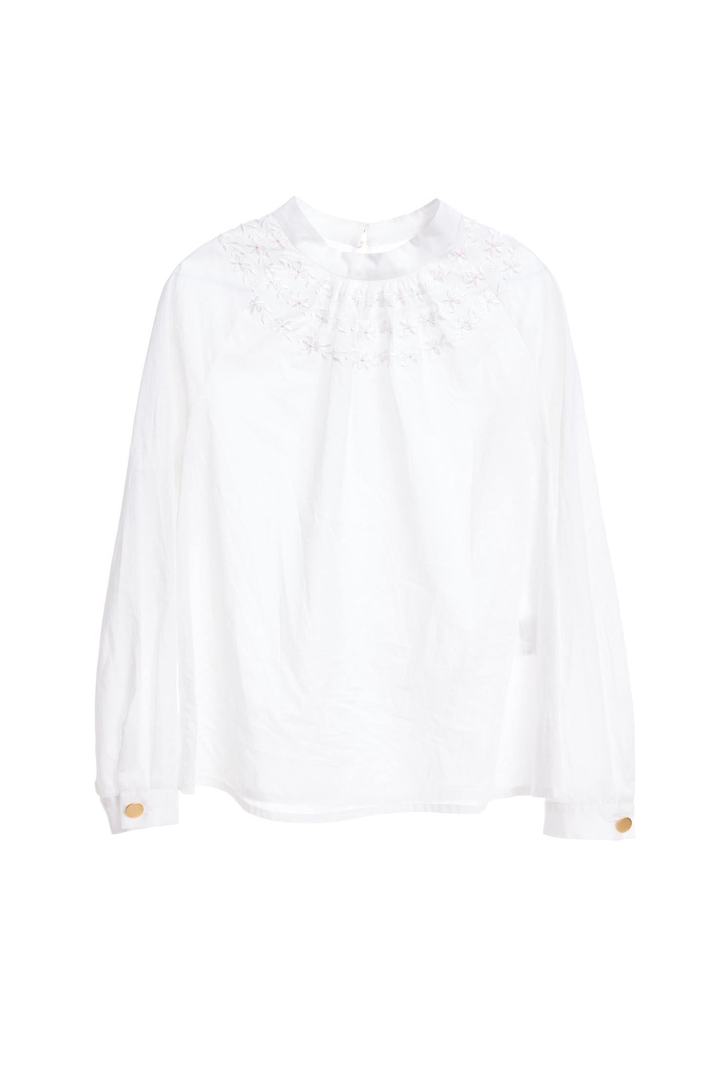 Embroidered fashion top,top,embroidery,embroideredtop,whitetop,cotton,embroidered,embroideredtop,blouse,longsleevetop