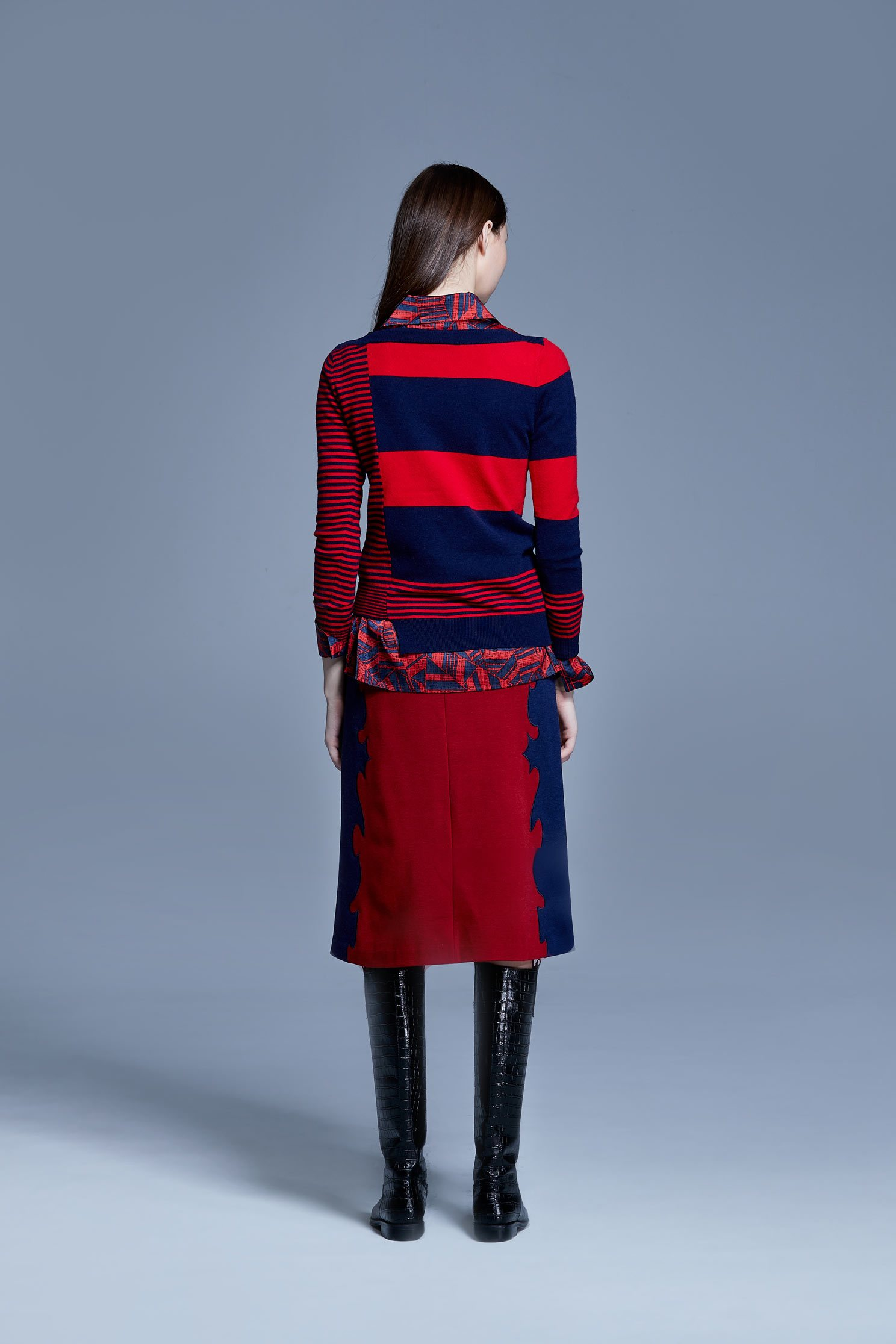 Red/black stripes sweater,knitting,Knitted top,Knitted Top,長袖上衣