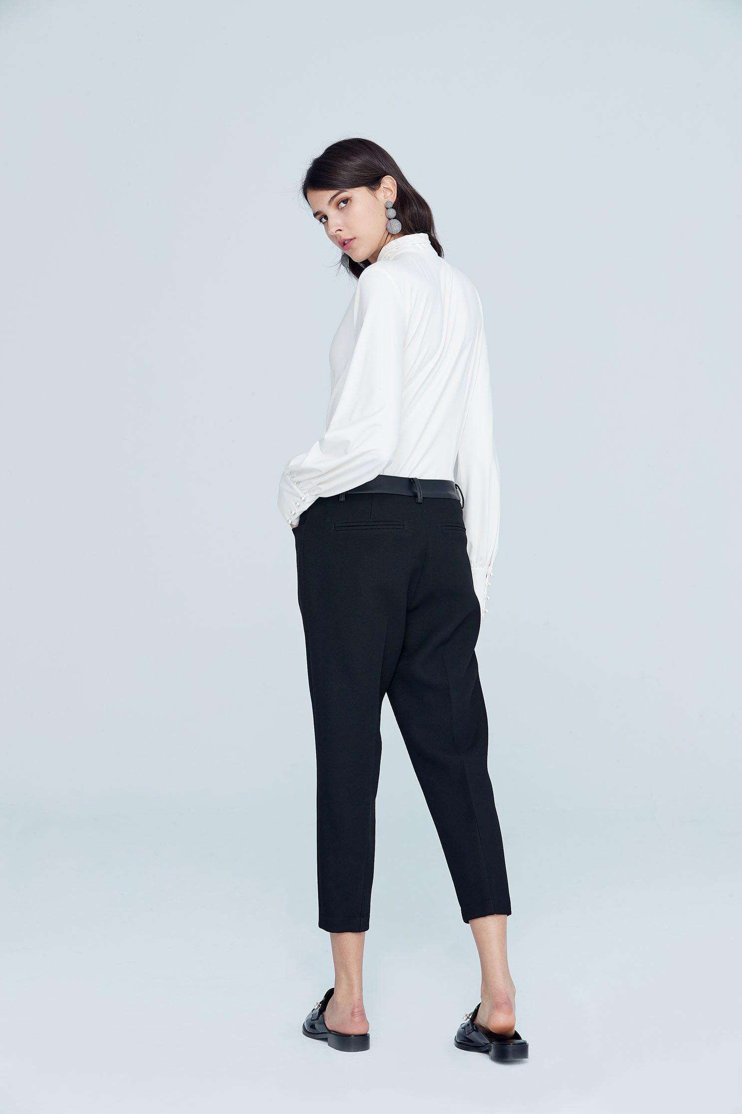Elegant temperament classic top,top,whitetop,cotton,blouse,longsleevetop