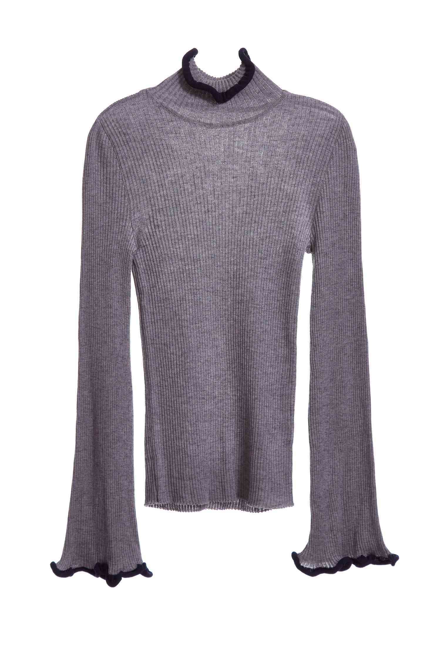 Wavy style knit long sleeve top,top,knitting,knittedtop,knittedtop,longsleevetop