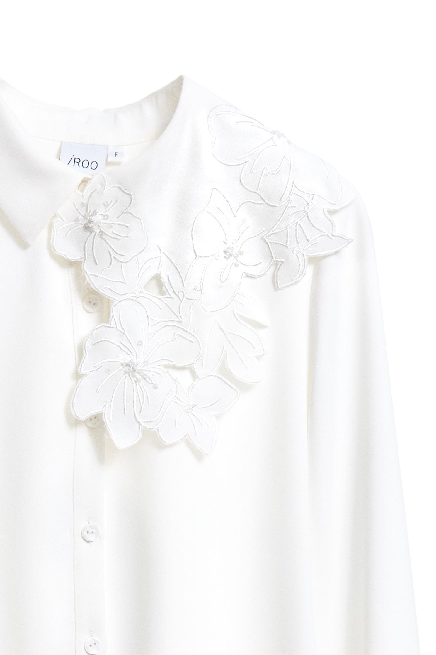 floral embroidered collared fashion blouse,top,whitetop,blouse,longsleevetop