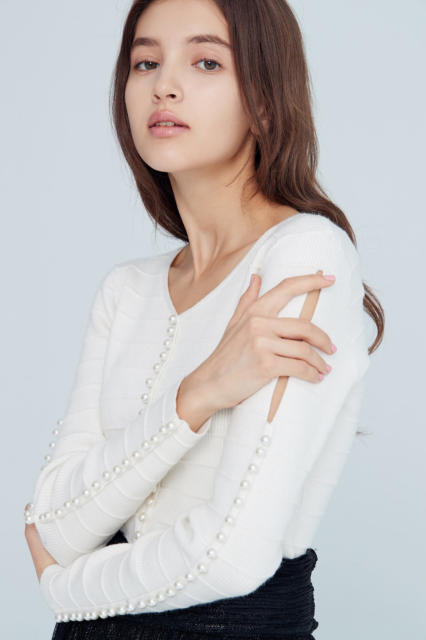 Stereoscopic crease top,top,whitetop,knittedtop,longsleevetop