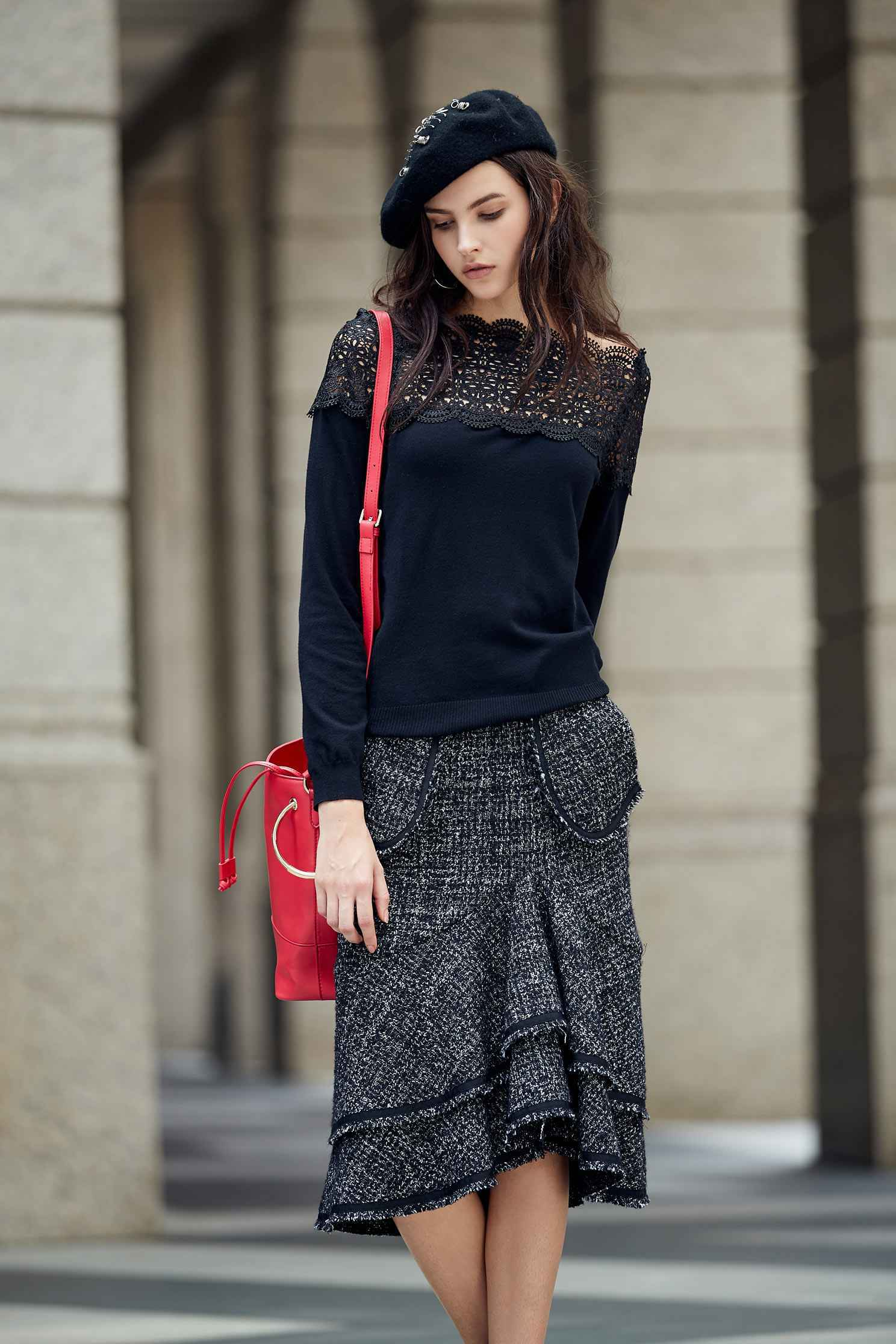 Elegant lace top,Top,Rayon,Lace,Laced Top,knitting,Knitted top,Knitted Top,長袖上衣,黑色上衣