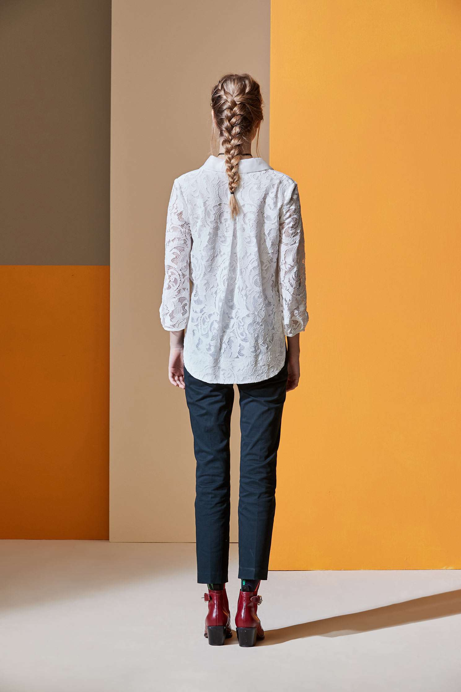 West Lace Rolling Top,Top,白色上衣,Lace,Laced Top,長袖上衣