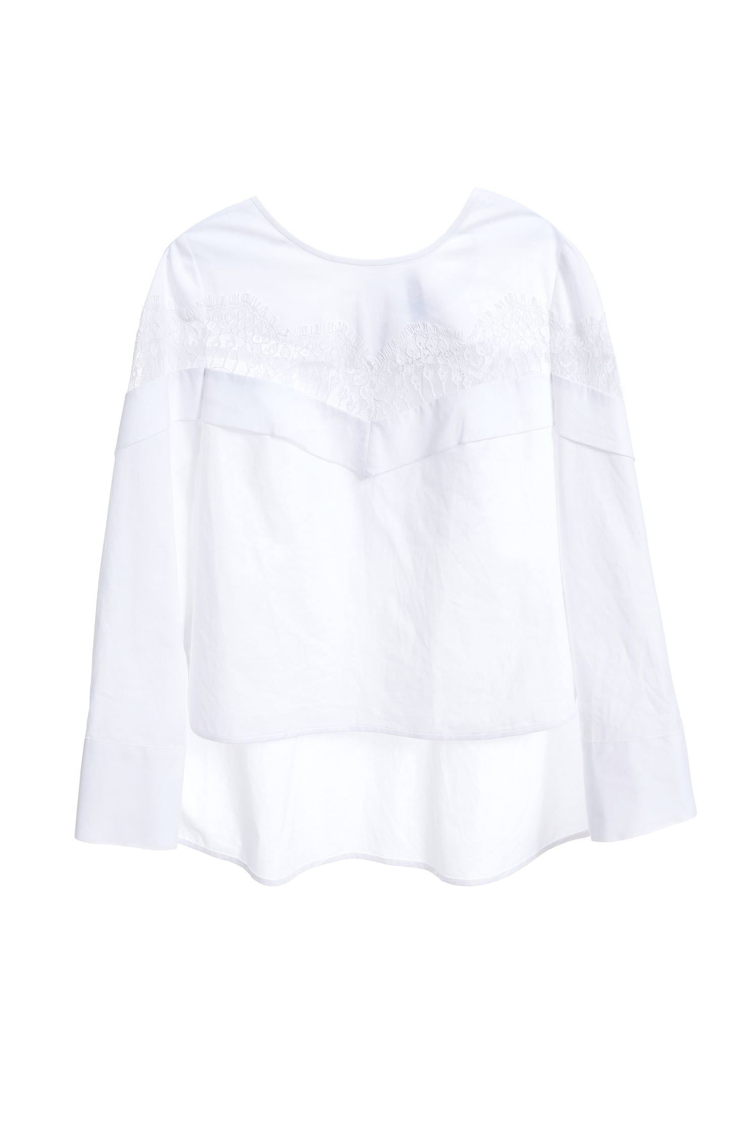 Lace ruffle shirt top,Top,白色上衣,簍空上衣,Cotton,Lace,Laced Top,Blouse,長袖上衣