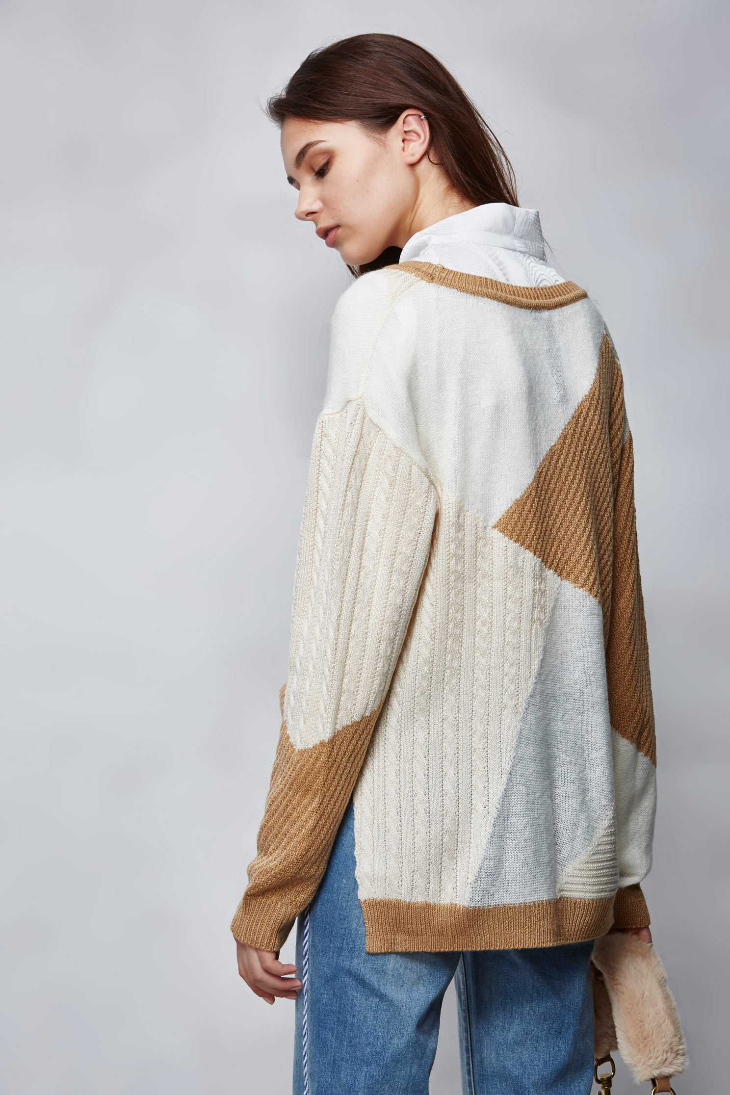 Khaki lump knitted top,Top,knitting,Knitted top,Knitted Top,長袖上衣